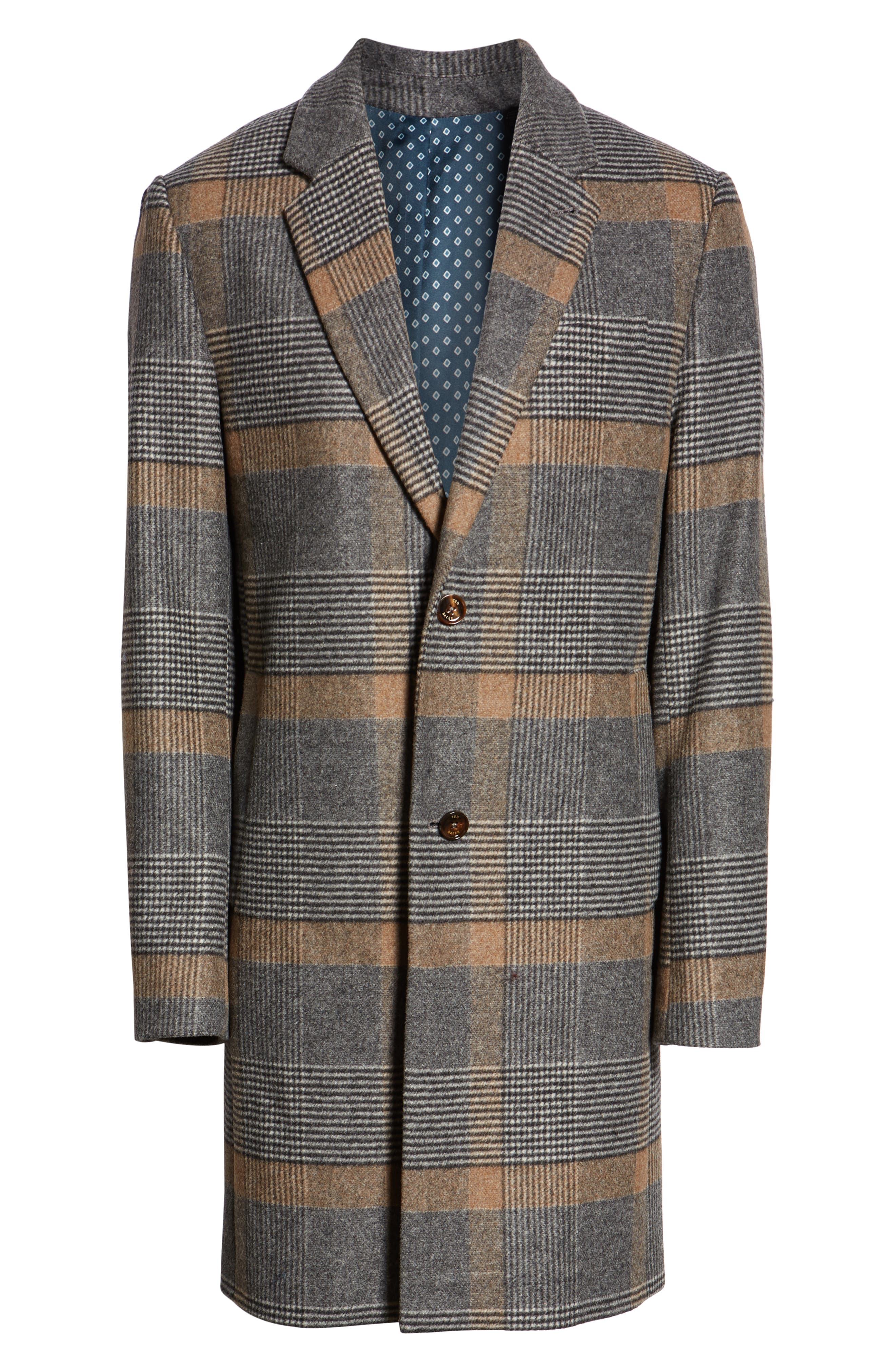 Frais Check Wool Overcoat,                             Alternate thumbnail 6, color,                             CAMEL