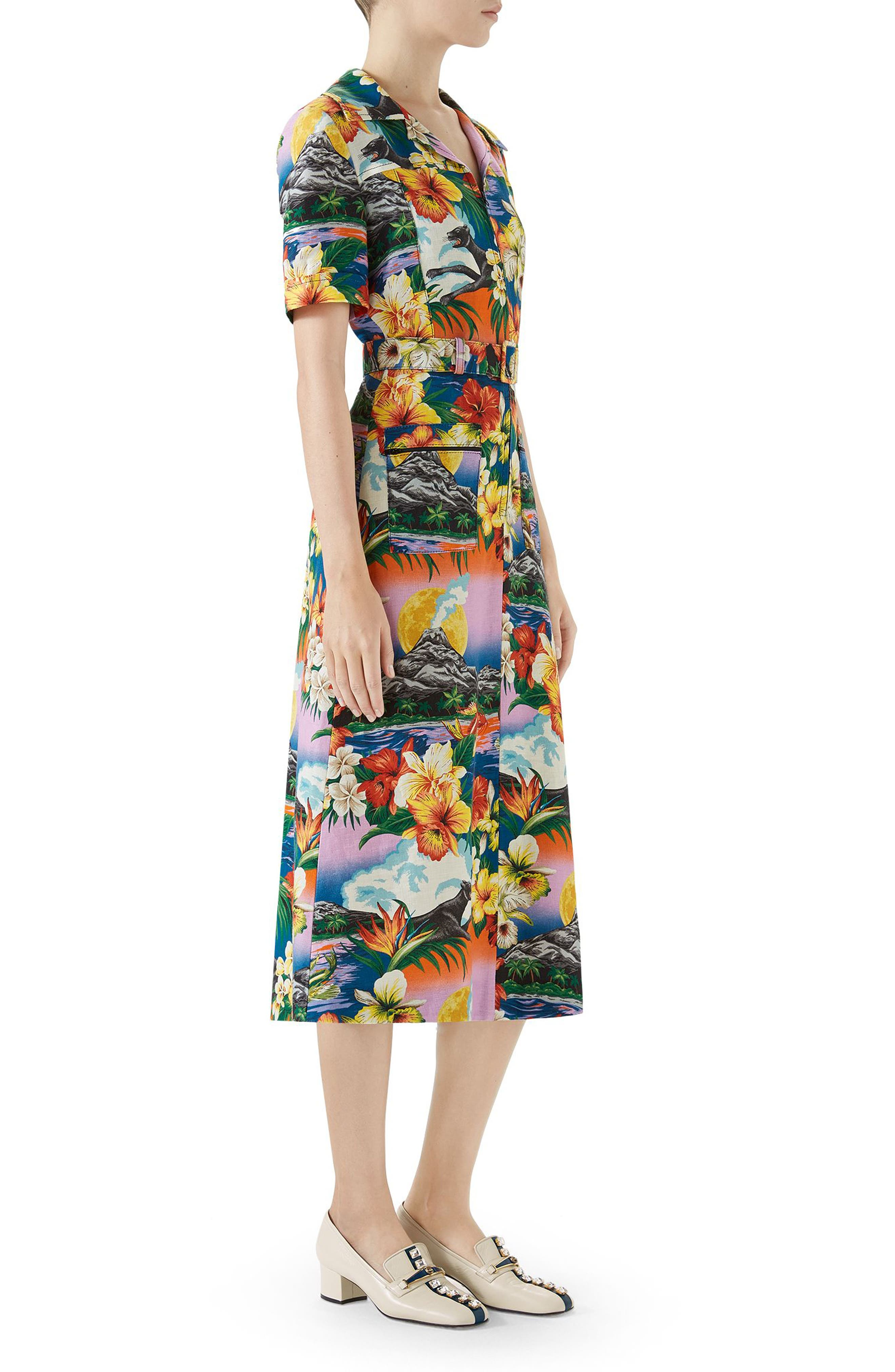 Belted Hawaiian Linen Shirtdress,                             Alternate thumbnail 3, color,                             PINK/ BLU/ ORANGE PRINT