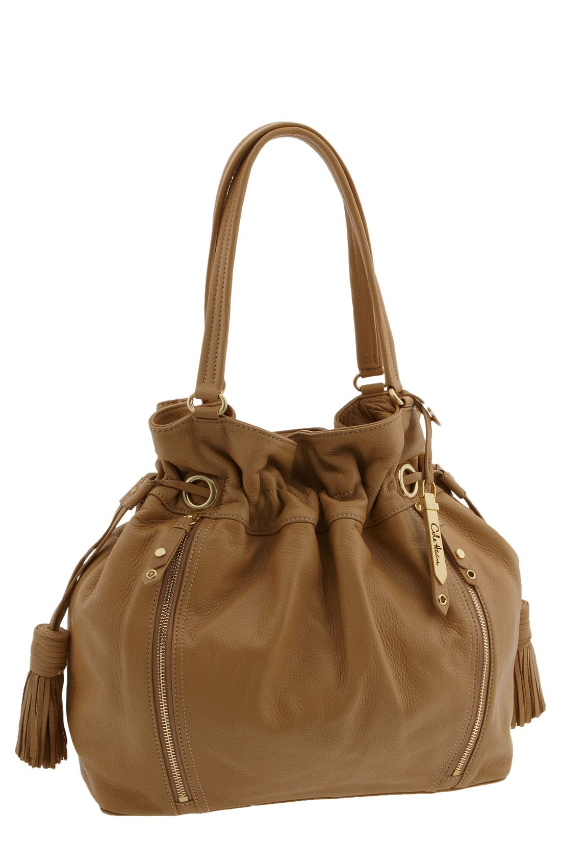 'Bailey' Pebbled Leather Drawstring Tote,                             Main thumbnail 8, color,