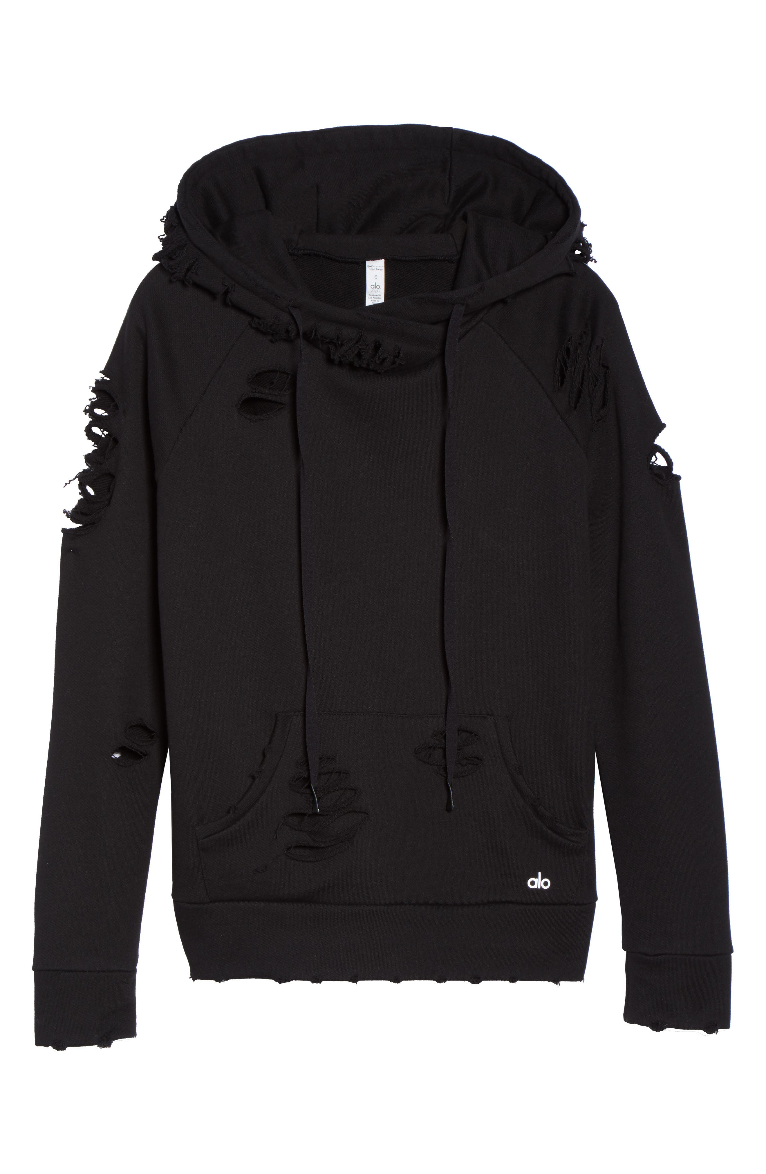Ripped Hoodie,                             Alternate thumbnail 7, color,                             BLACK/ DISTRESSED HOLES