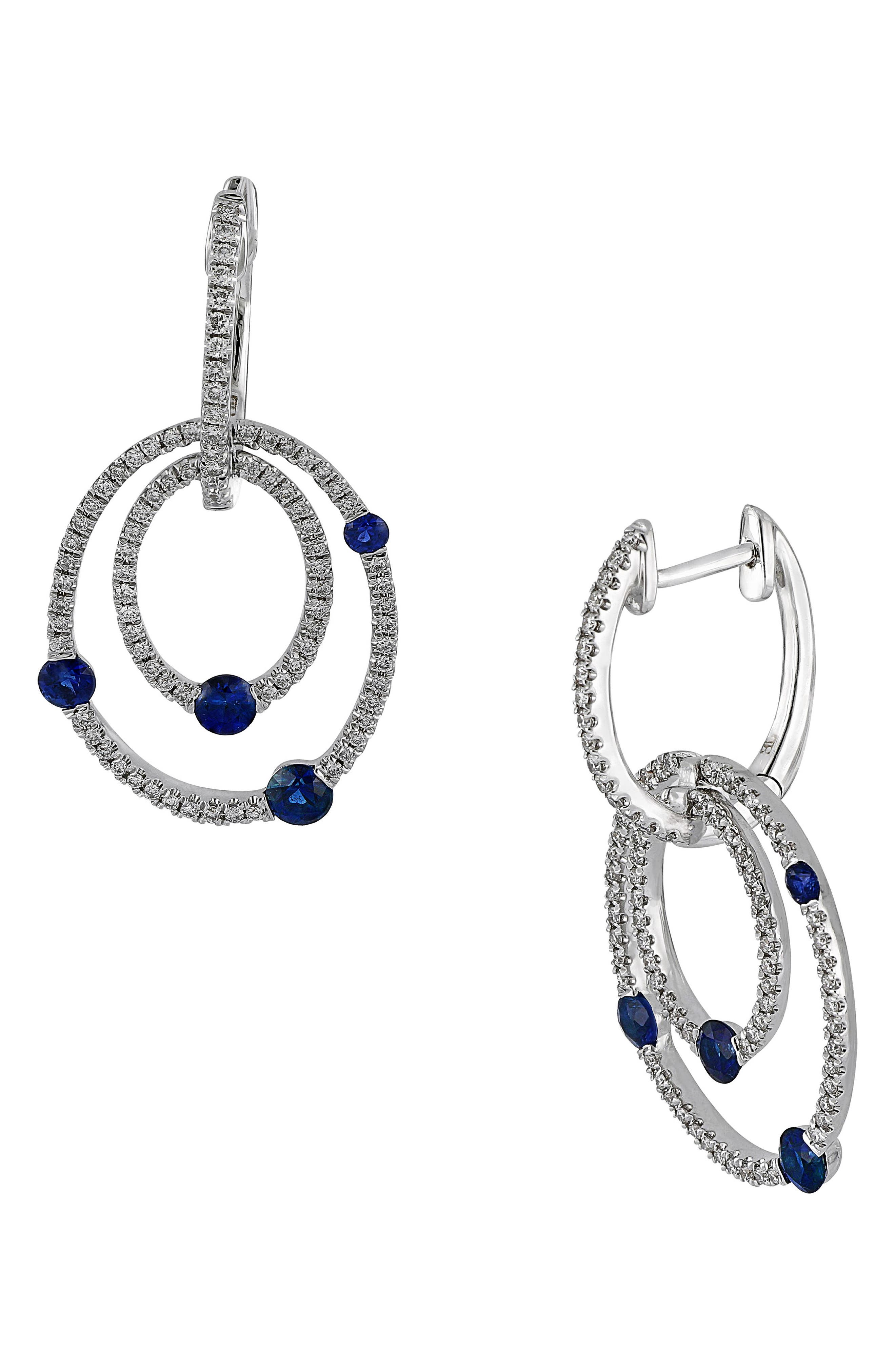 Sapphire & Diamond Drop Earrings,                             Main thumbnail 1, color,