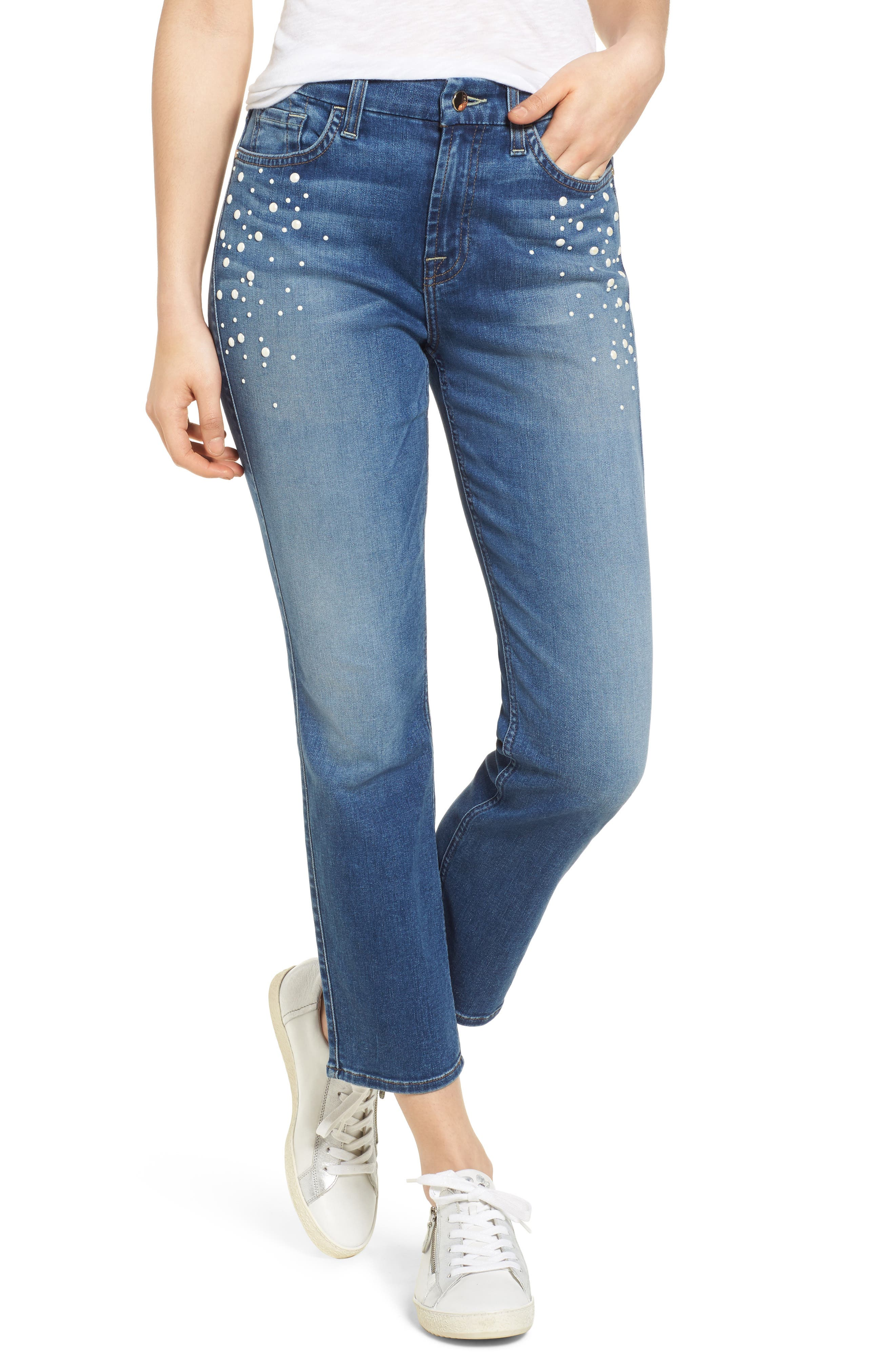 Pearl Embellished Crop Straight Leg Jeans,                             Main thumbnail 1, color,                             400