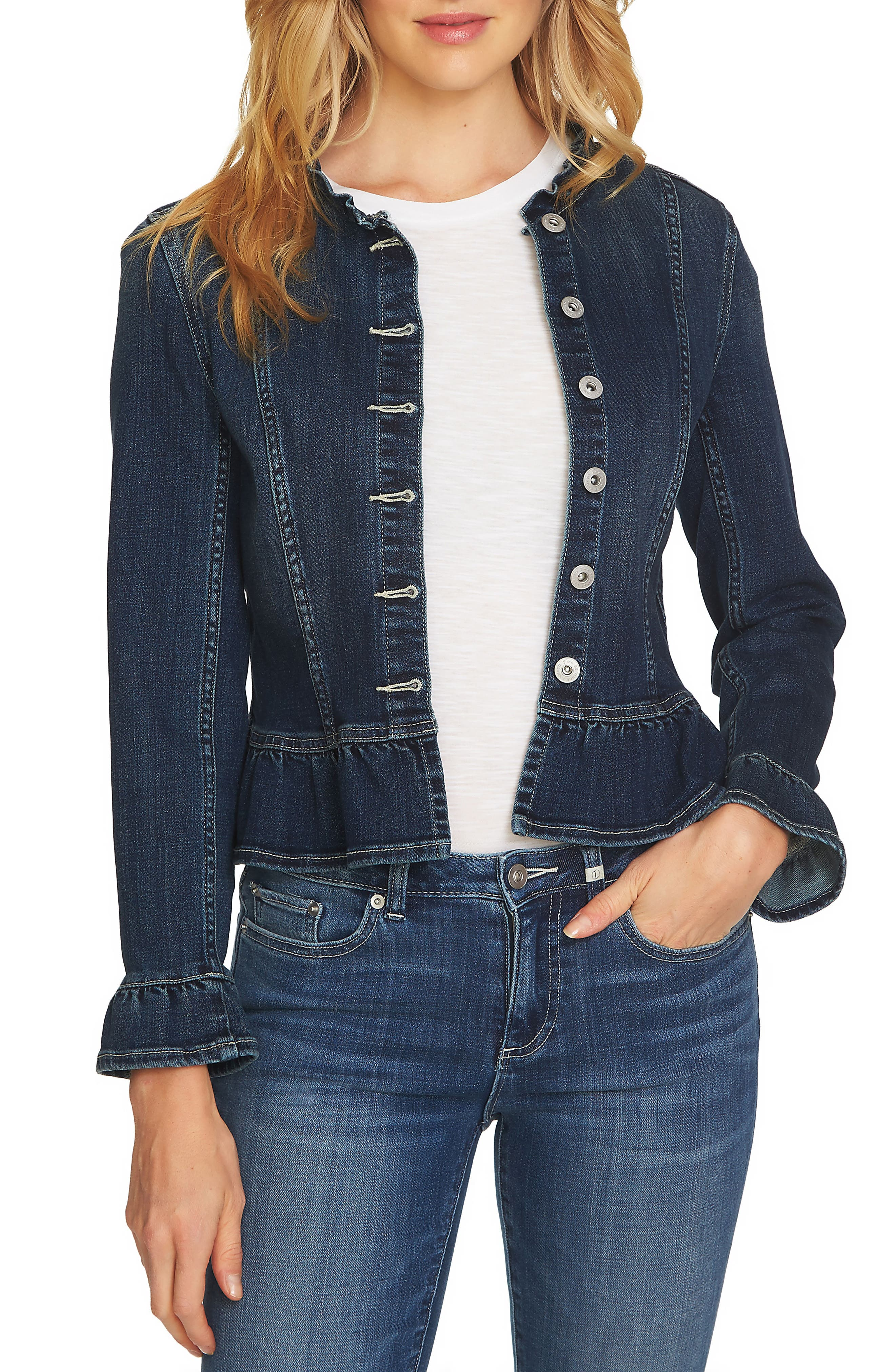 Ruffled Denim Jacket,                         Main,                         color, TRUE BLUE