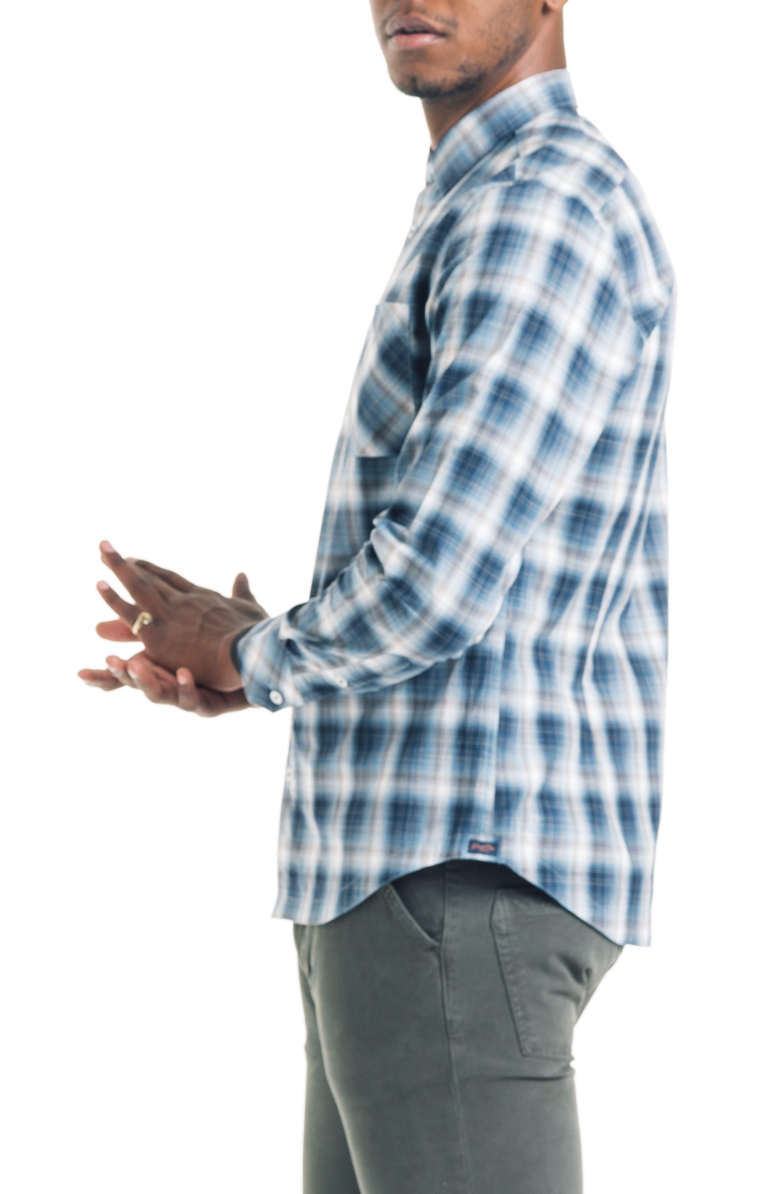 Shadow Slim Fit Plaid Sport Shirt,                             Alternate thumbnail 3, color,                             410