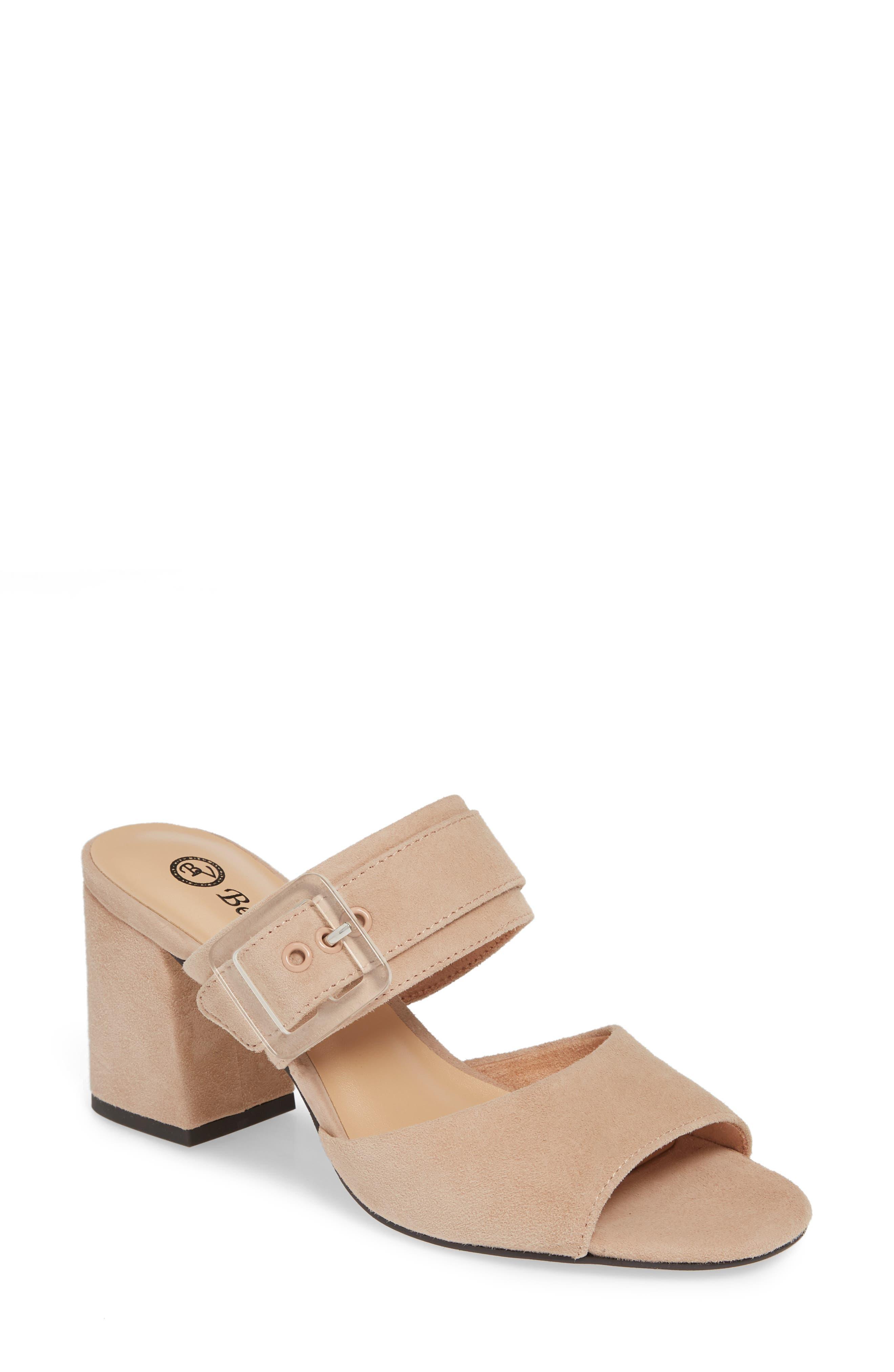 BELLA VITA Tory Buckle Slide Sandal, Main, color, BLUSH SUEDE