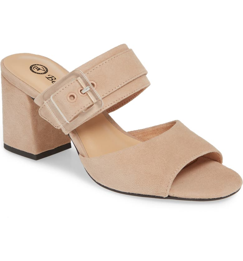BELLA VITA Tory Buckle Slide Sandal, Main, color, BLUSH SUEDE