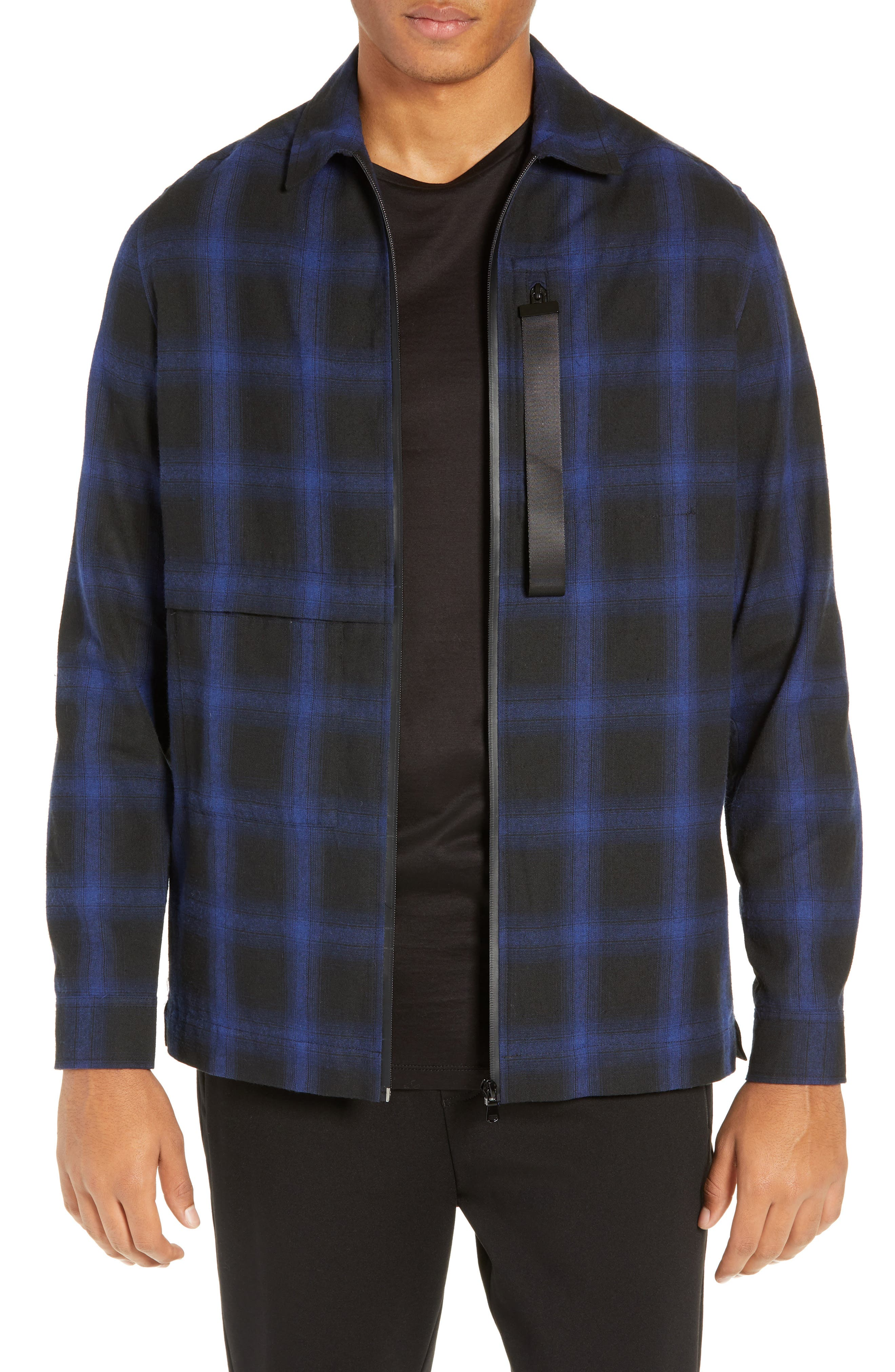 River Stone Slim Fit Plaid Zip Front Flannel Shirt Jacket
