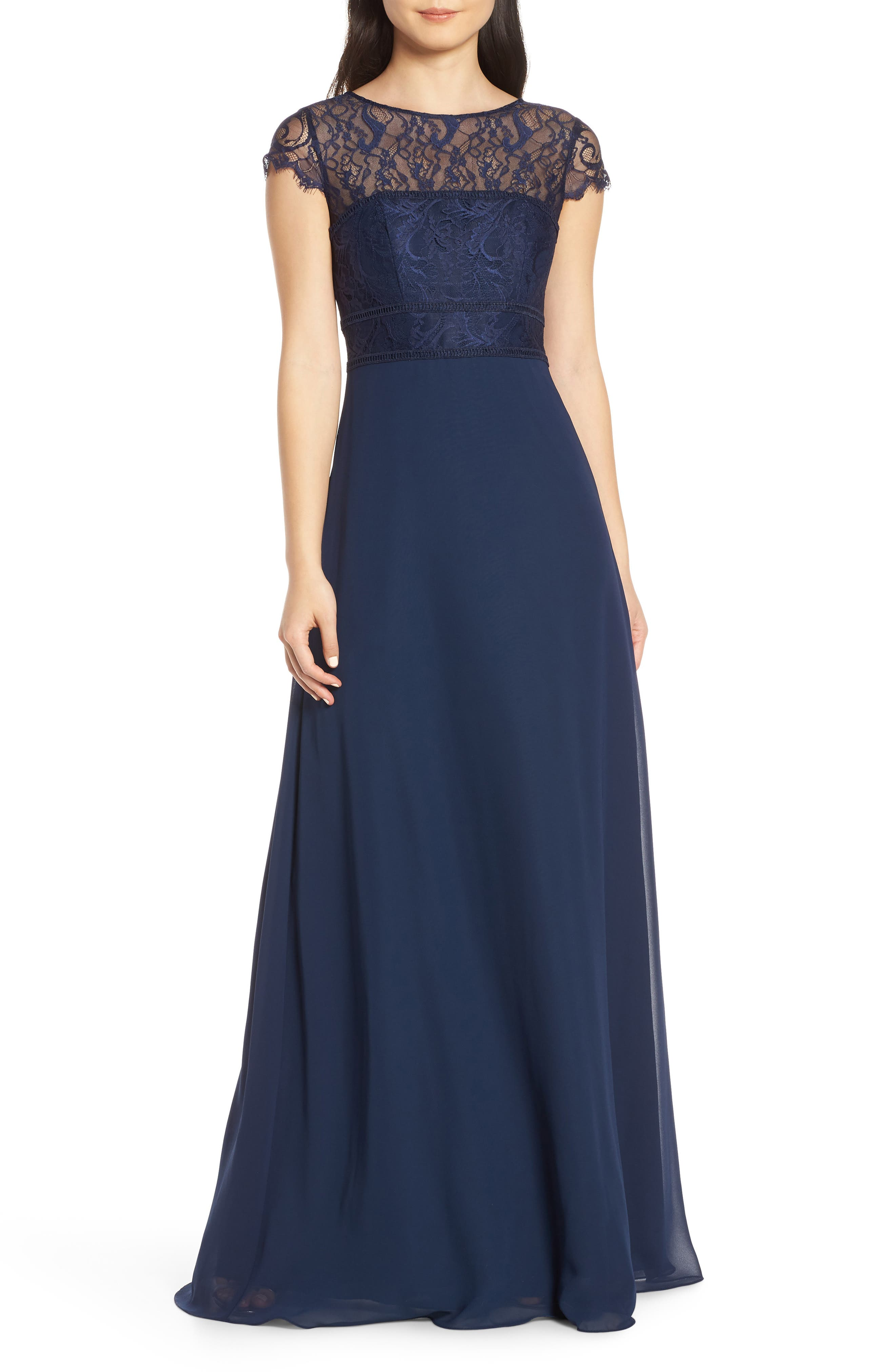 Hayley Paige Occasions Lace Bodice Chiffon Evening Dress, Blue