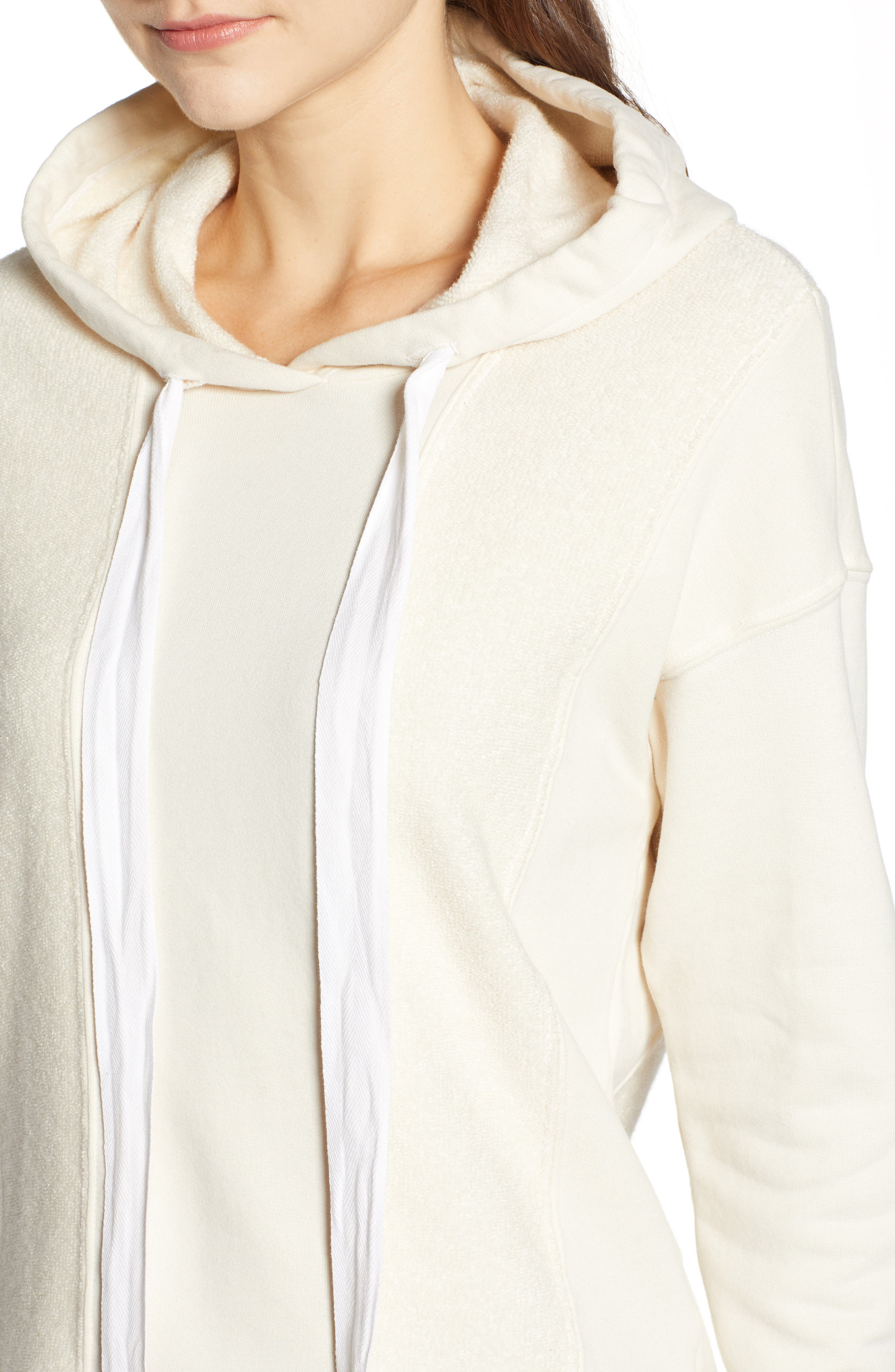 French Terry Hoodie,                             Alternate thumbnail 4, color,                             CREAM