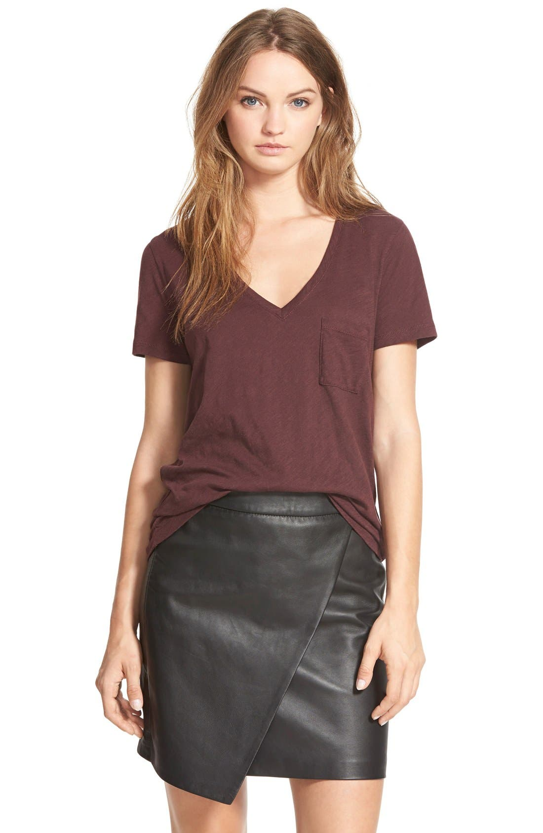 Whisper Cotton V-Neck Pocket Tee,                             Main thumbnail 12, color,