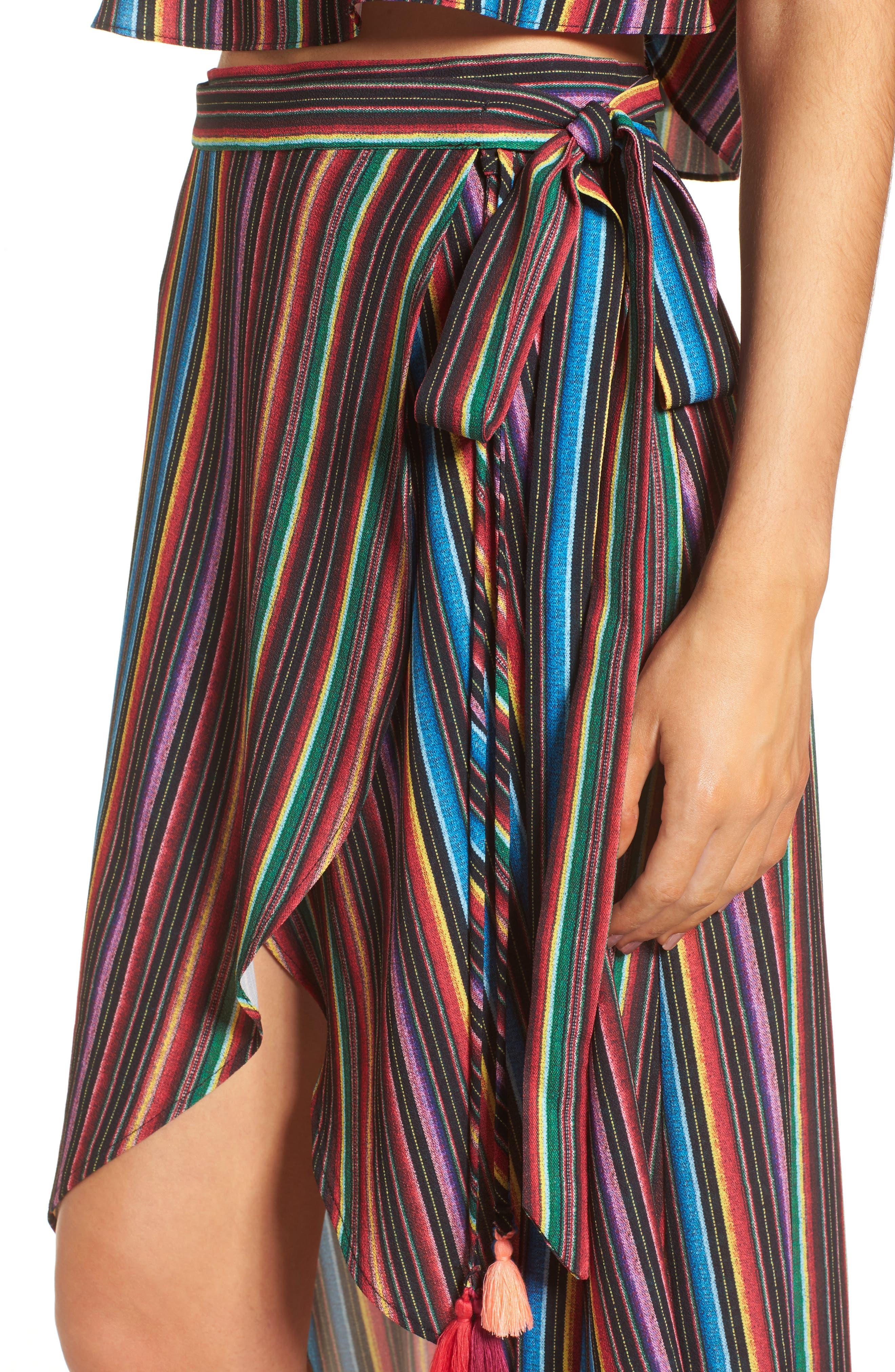 Panama Tassel Wrap Skirt,                             Alternate thumbnail 4, color,                             001