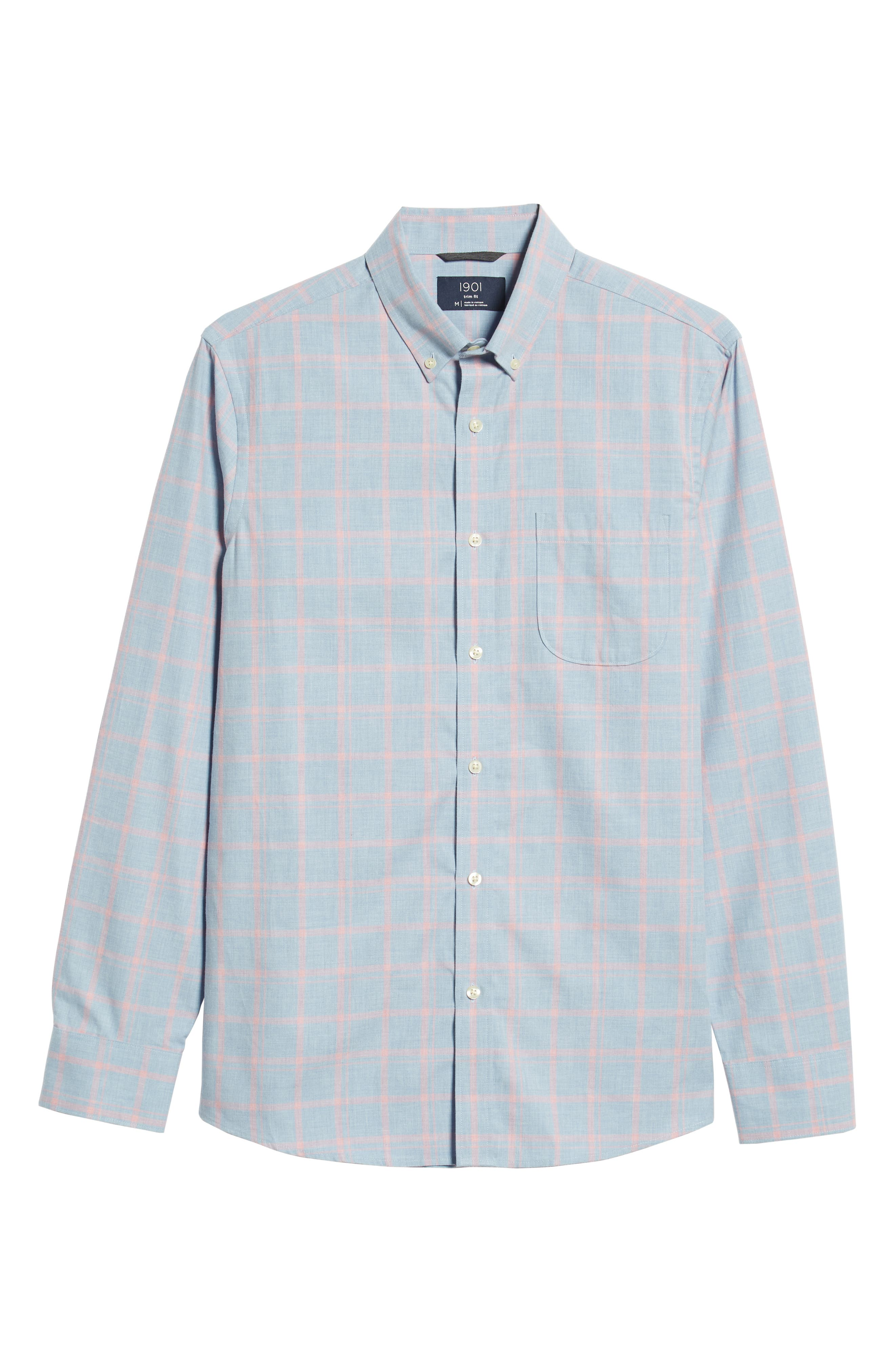Slim Fit Chambray Sport Shirt,                             Alternate thumbnail 5, color,                             450