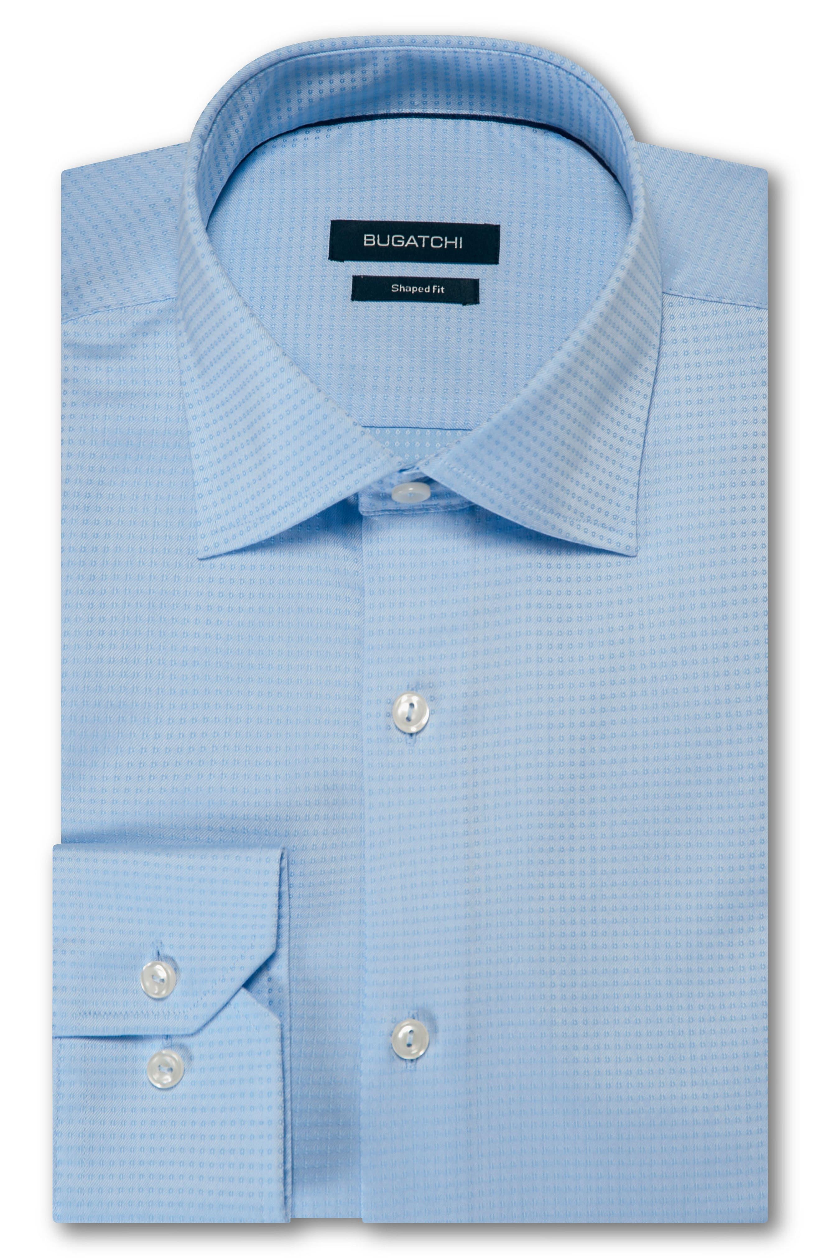 men's bugatchi trim fit solid dress shirt, size 16.5 - blue