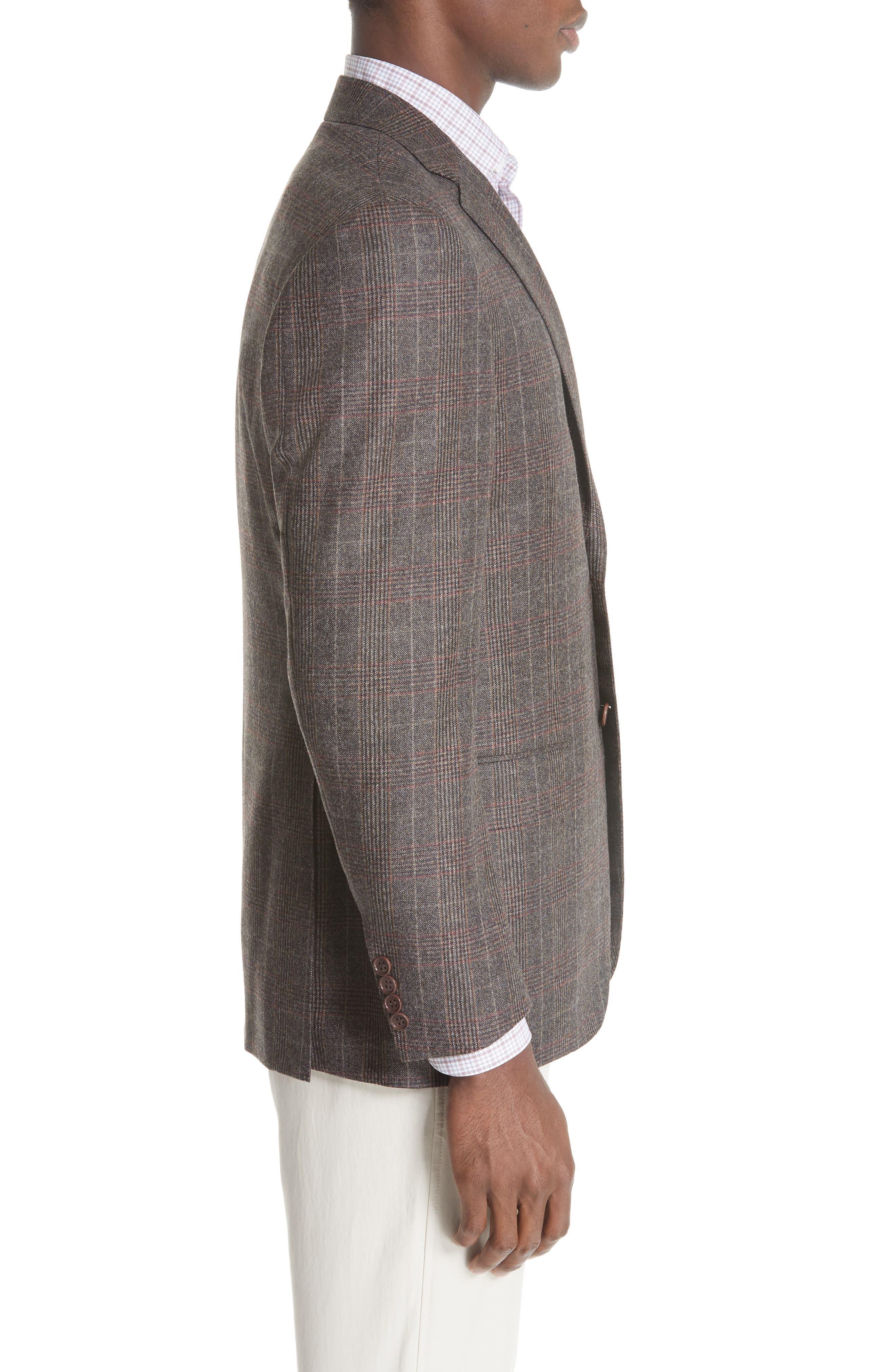 CANALI,                             Classic Fit Plaid Wool Sport Coat,                             Alternate thumbnail 3, color,                             200