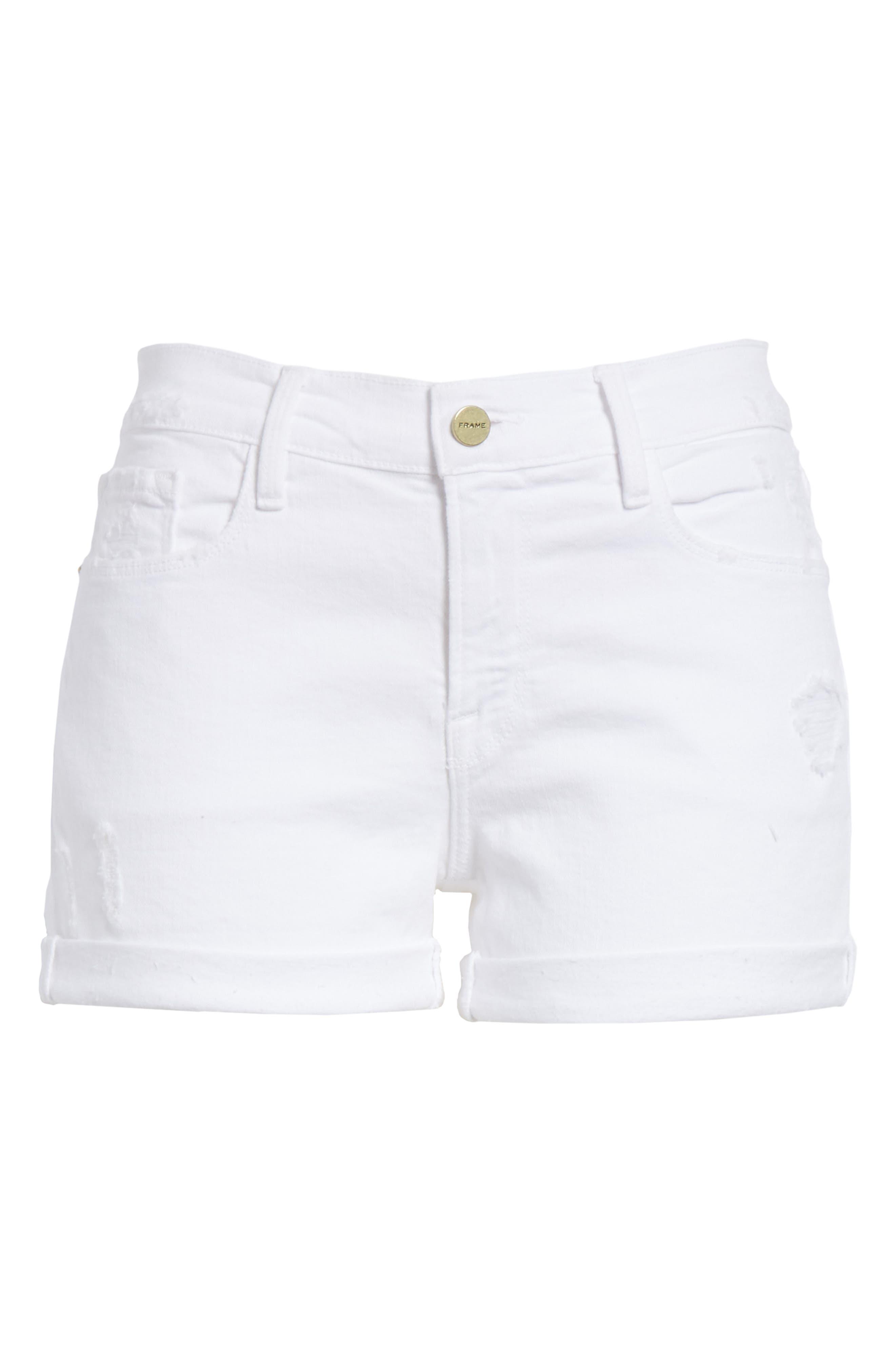 Le Cutoff Cuffed Jean Shorts,                             Alternate thumbnail 7, color,                             BLANC ROOKLEY