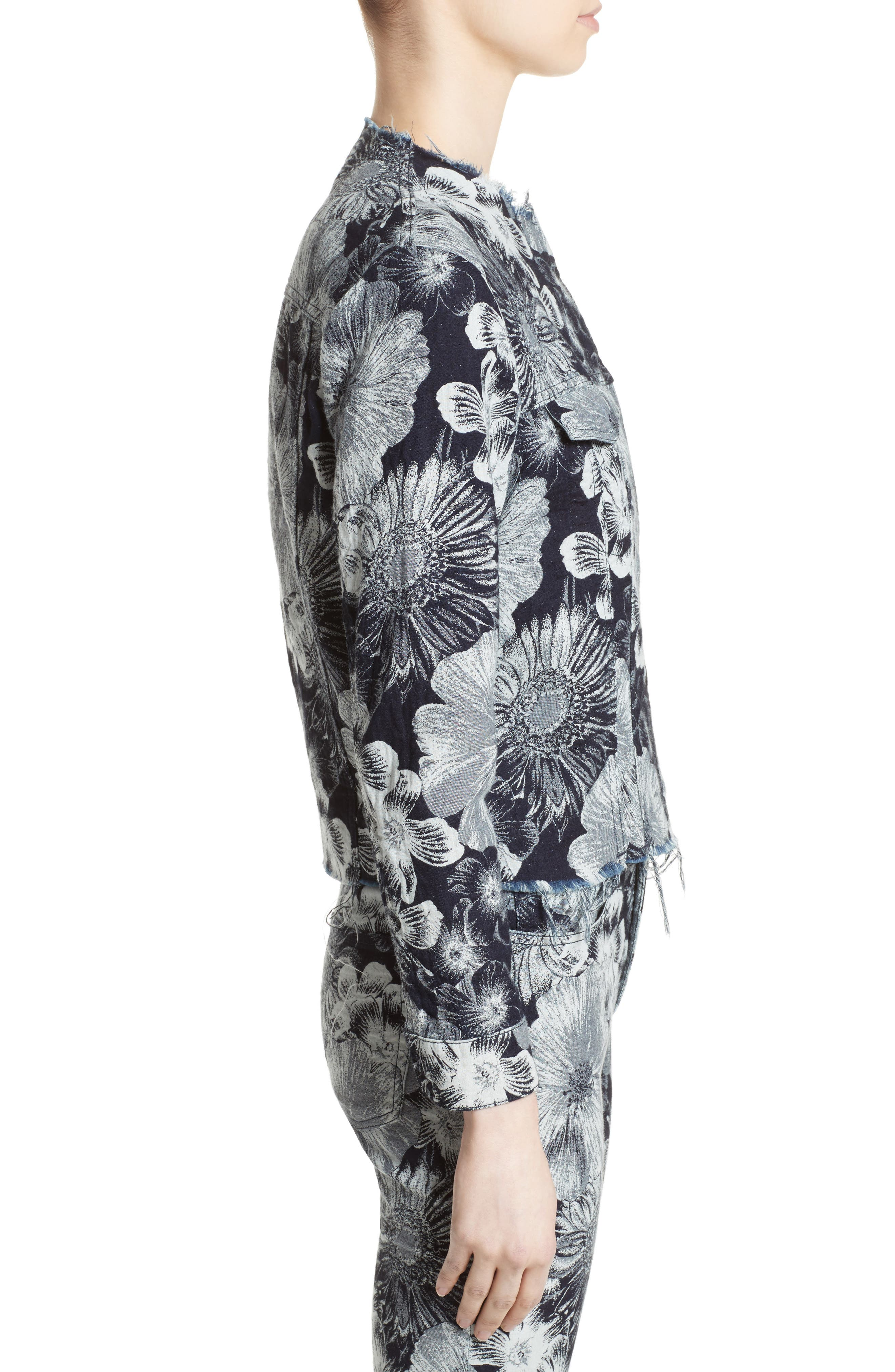 Marques'Almeida Floral Print Classic Fitted Denim Jacket,                             Alternate thumbnail 4, color,