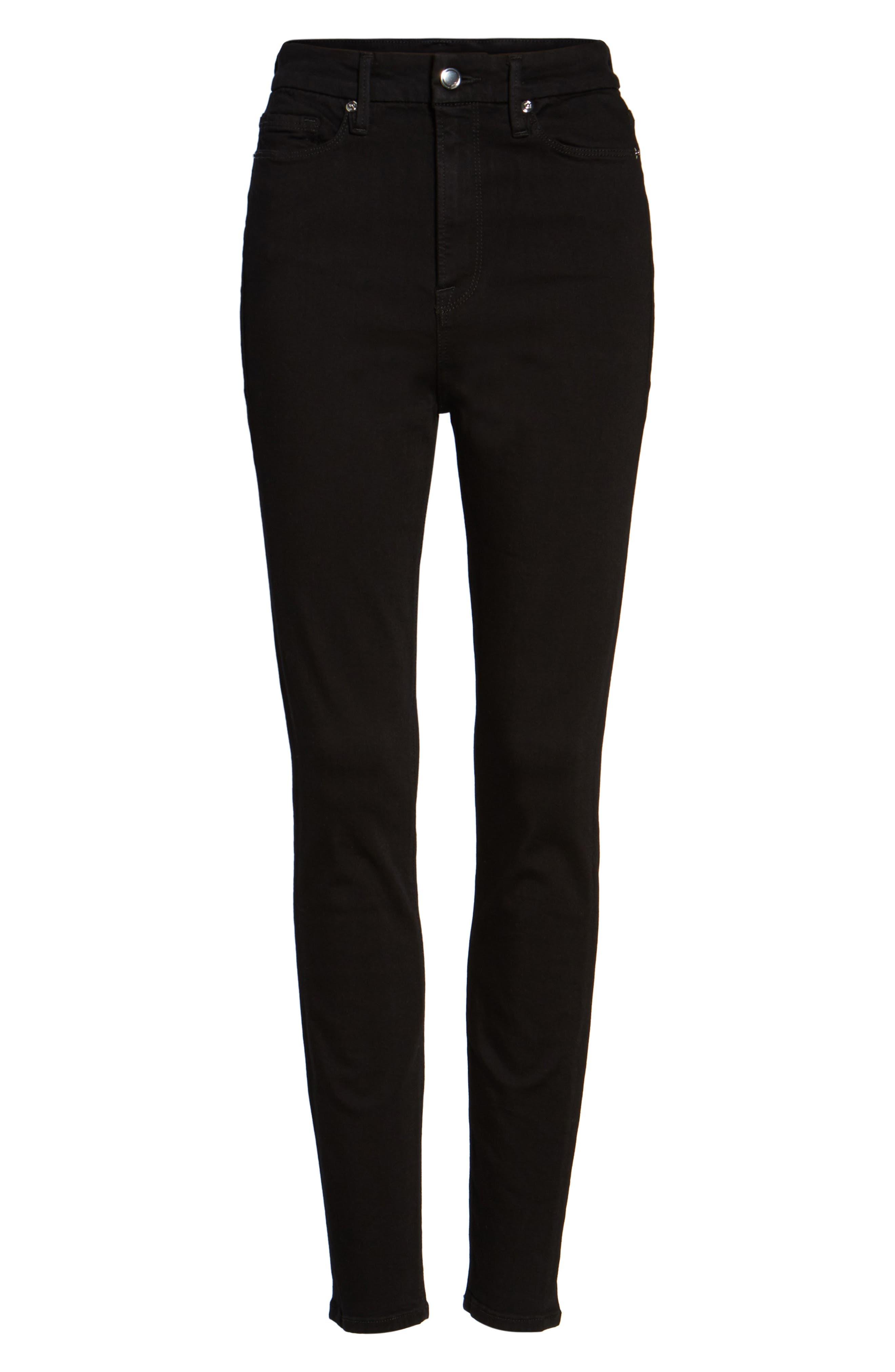 Good Waist High Rise Skinny Jeans,                             Alternate thumbnail 8, color,                             BLACK 004