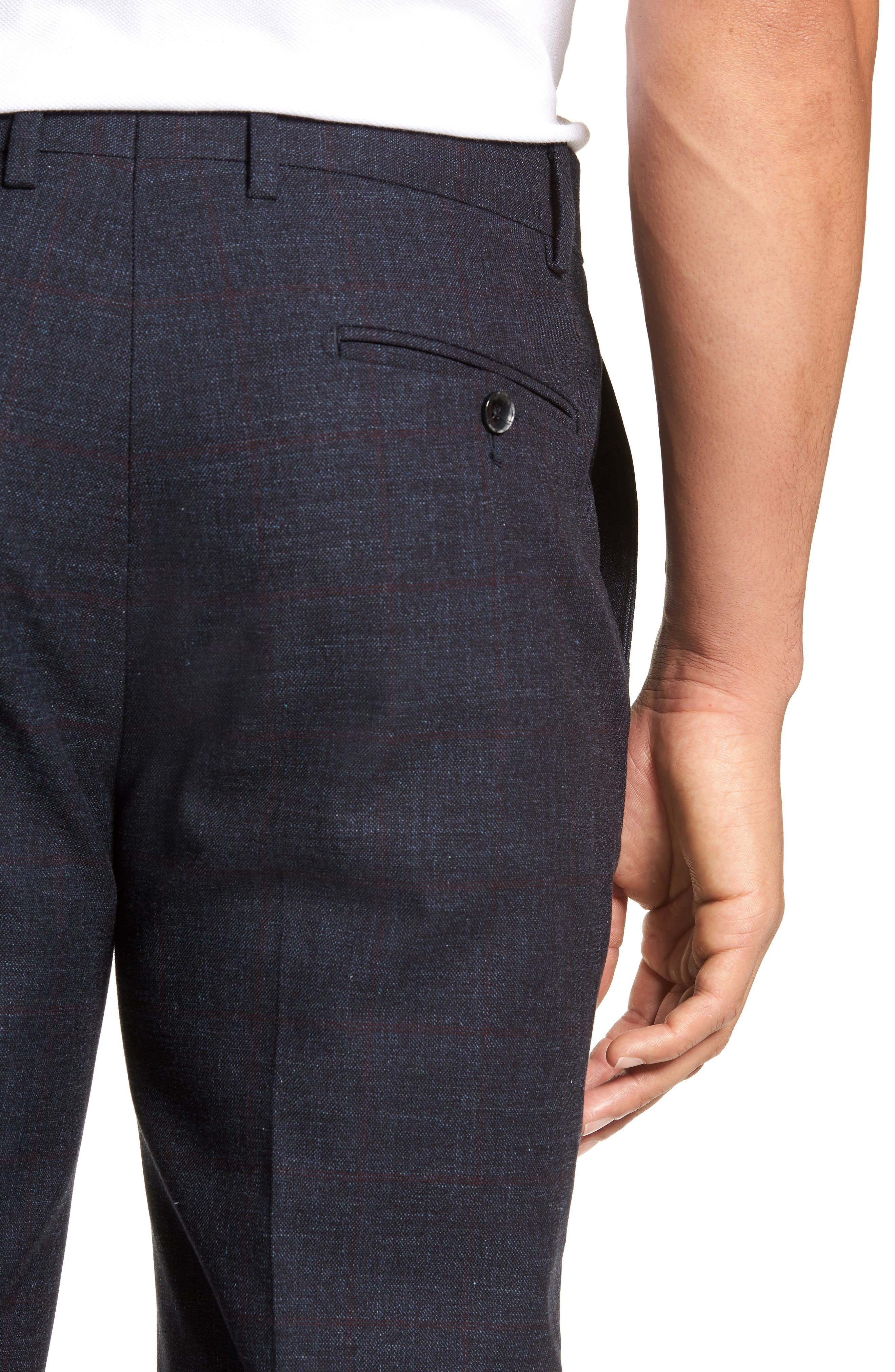 Flat Front Windowpane Stretch Cotton Trousers,                             Alternate thumbnail 4, color,                             NAVY