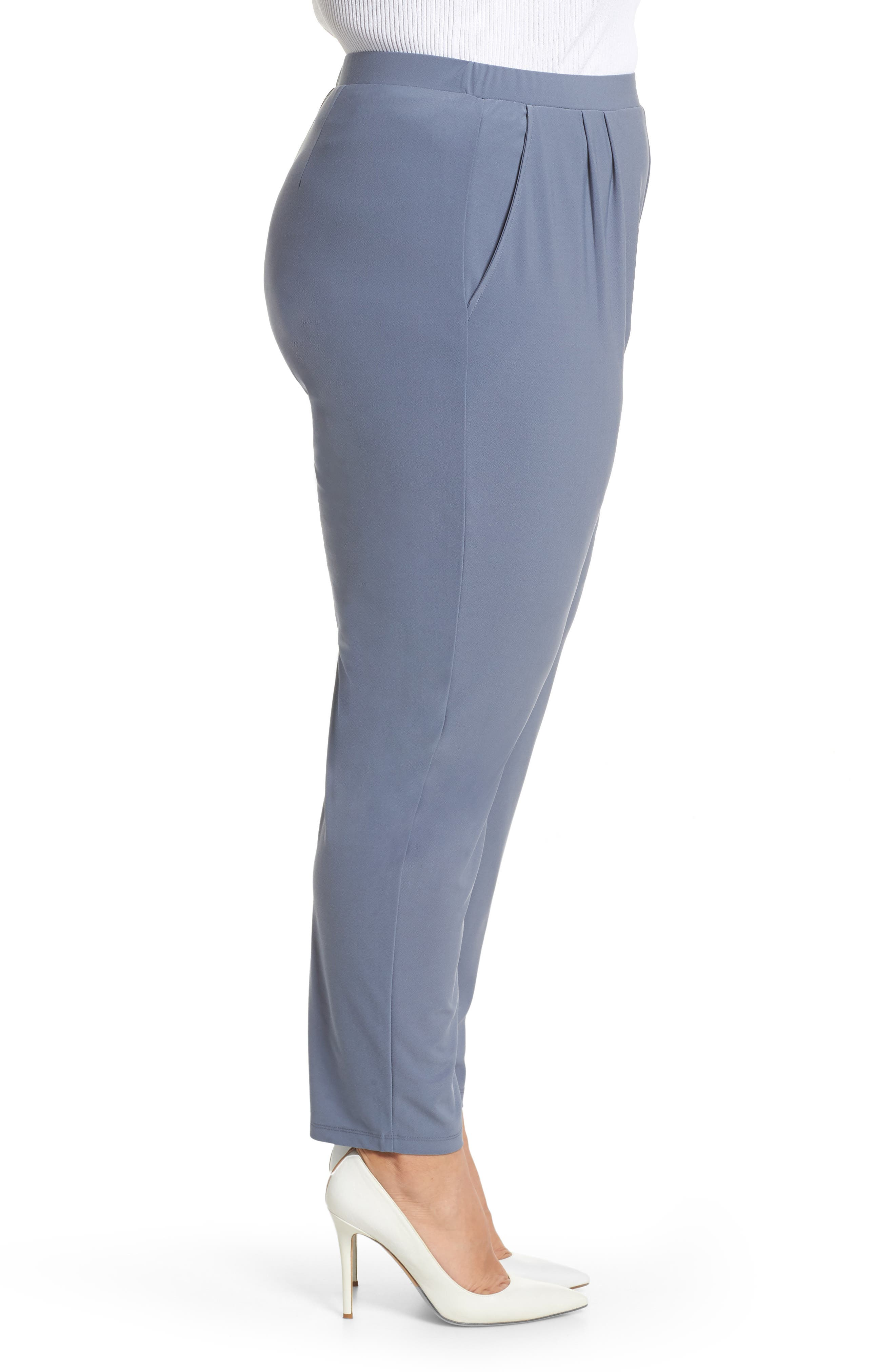 High Rise Pleated Pants,                             Alternate thumbnail 3, color,                             GREY GRISAILLE