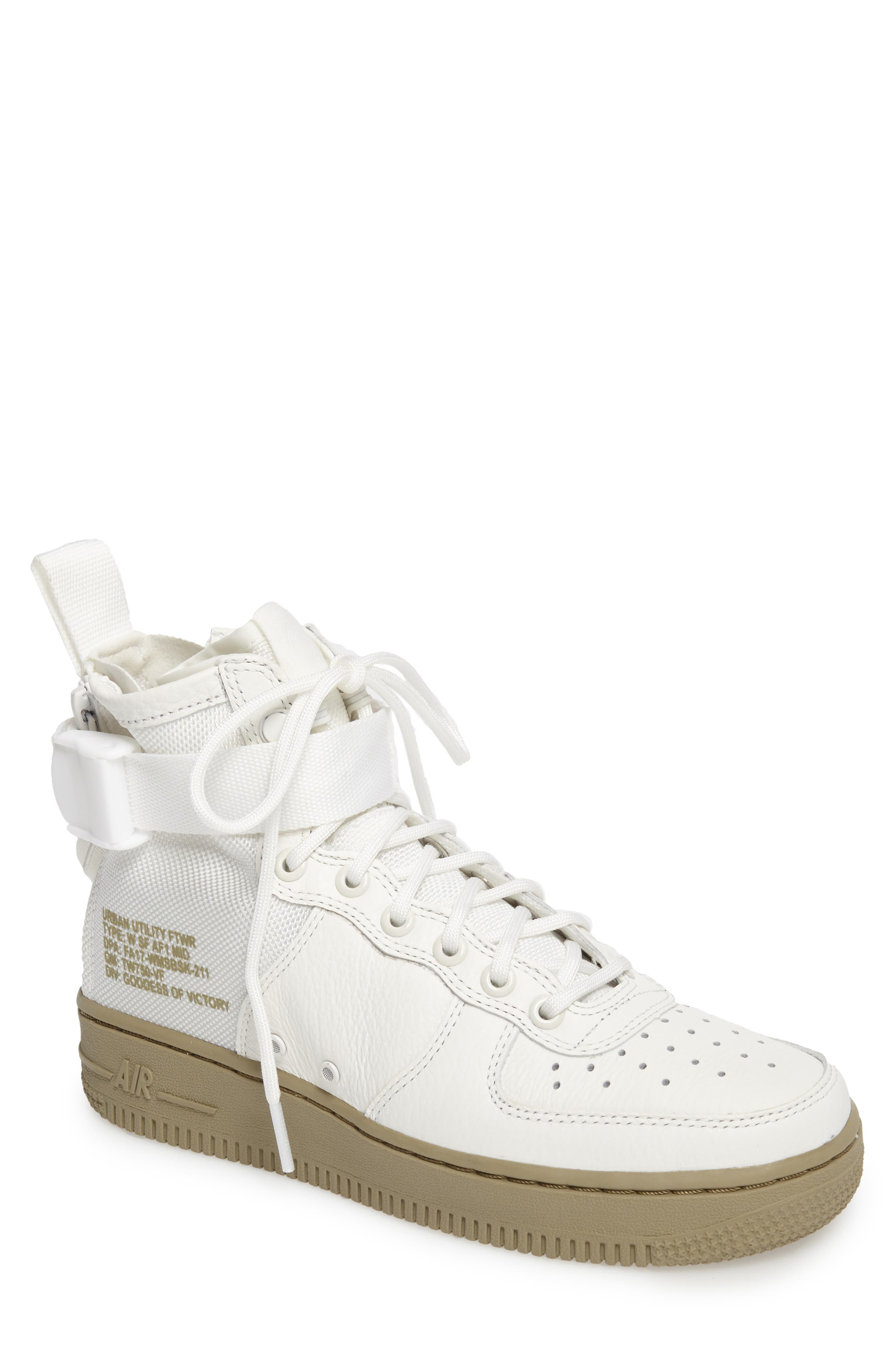 SF Air Force 1 Mid Sneaker,                             Main thumbnail 1, color,                             IVORY/IVORY-MARS STONE