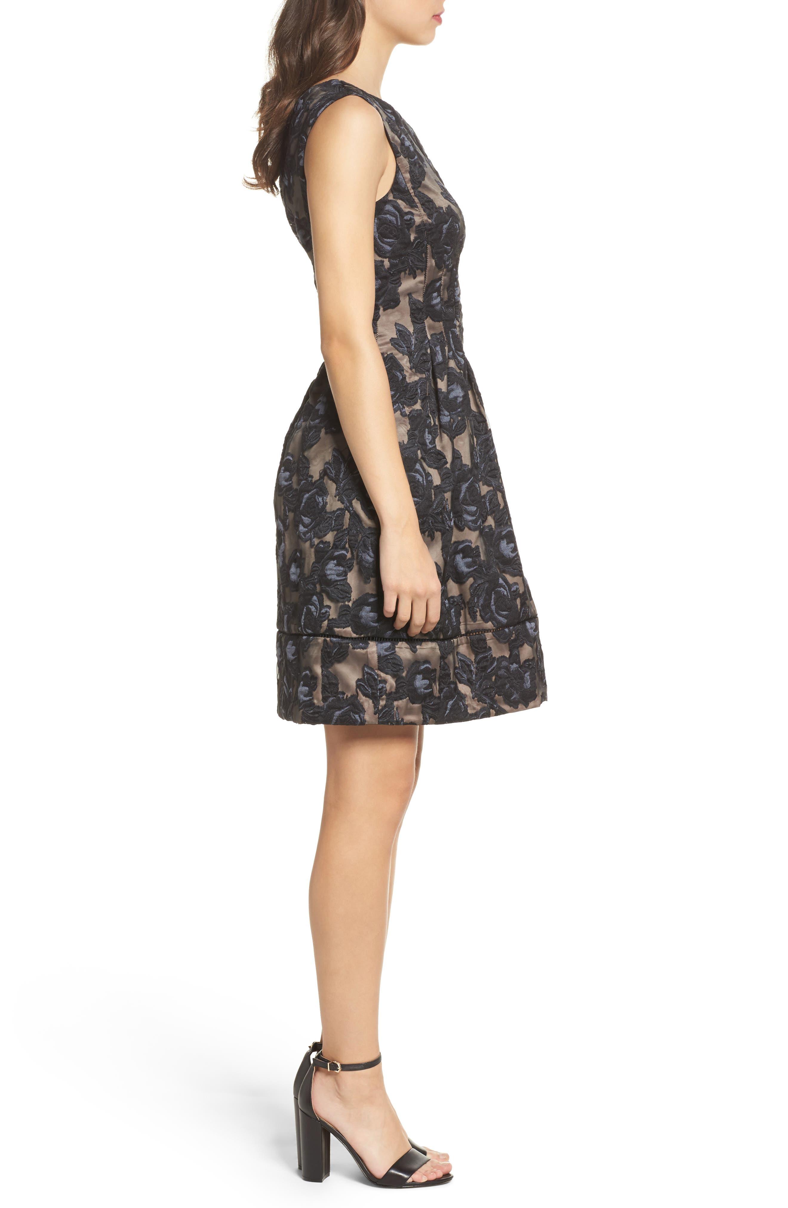 Burnout Fit & Flare Dress,                             Alternate thumbnail 3, color,                             001