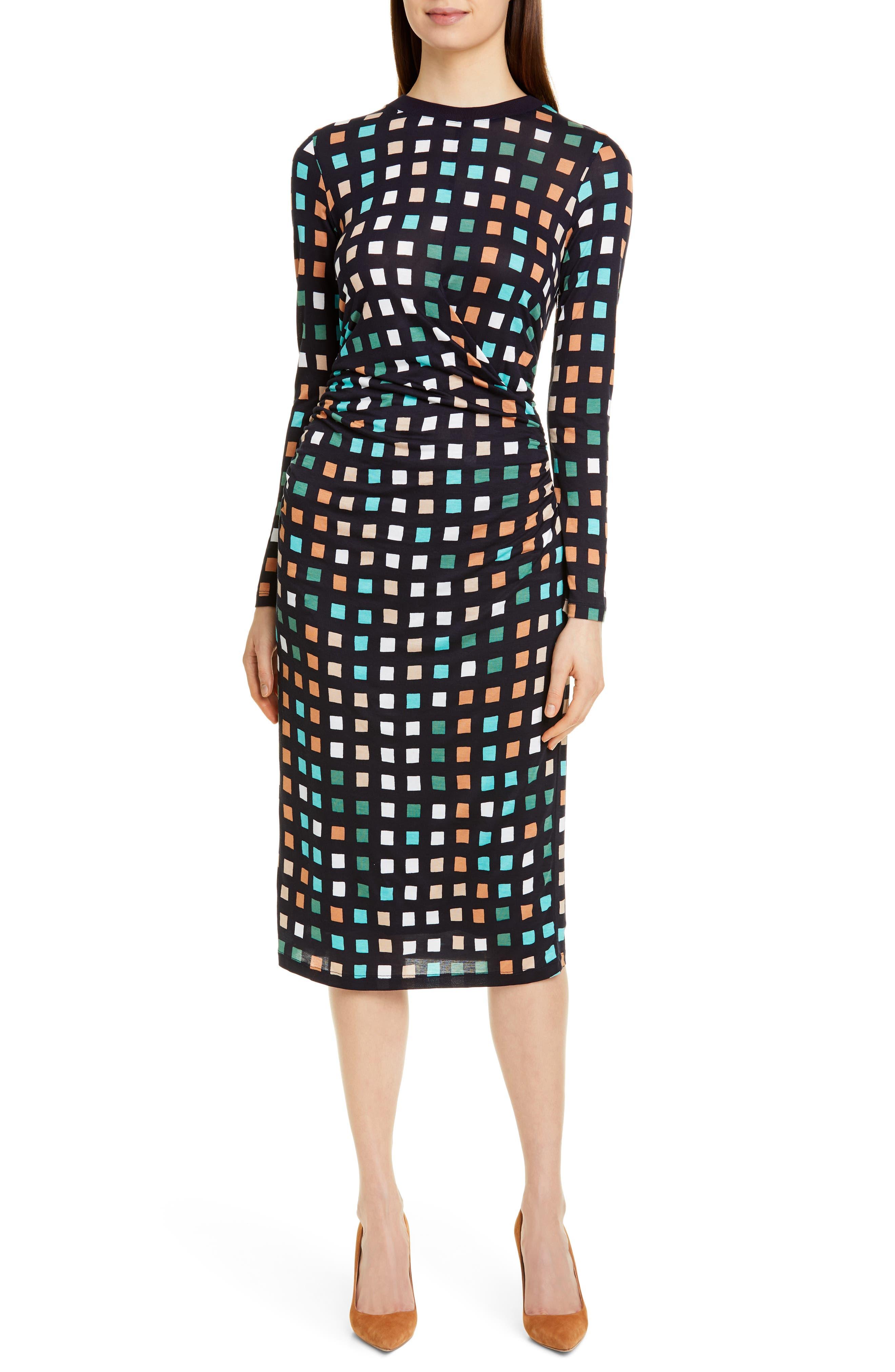 Boss Esetta Cube Print Long Sleeve Midi Dress, Blue