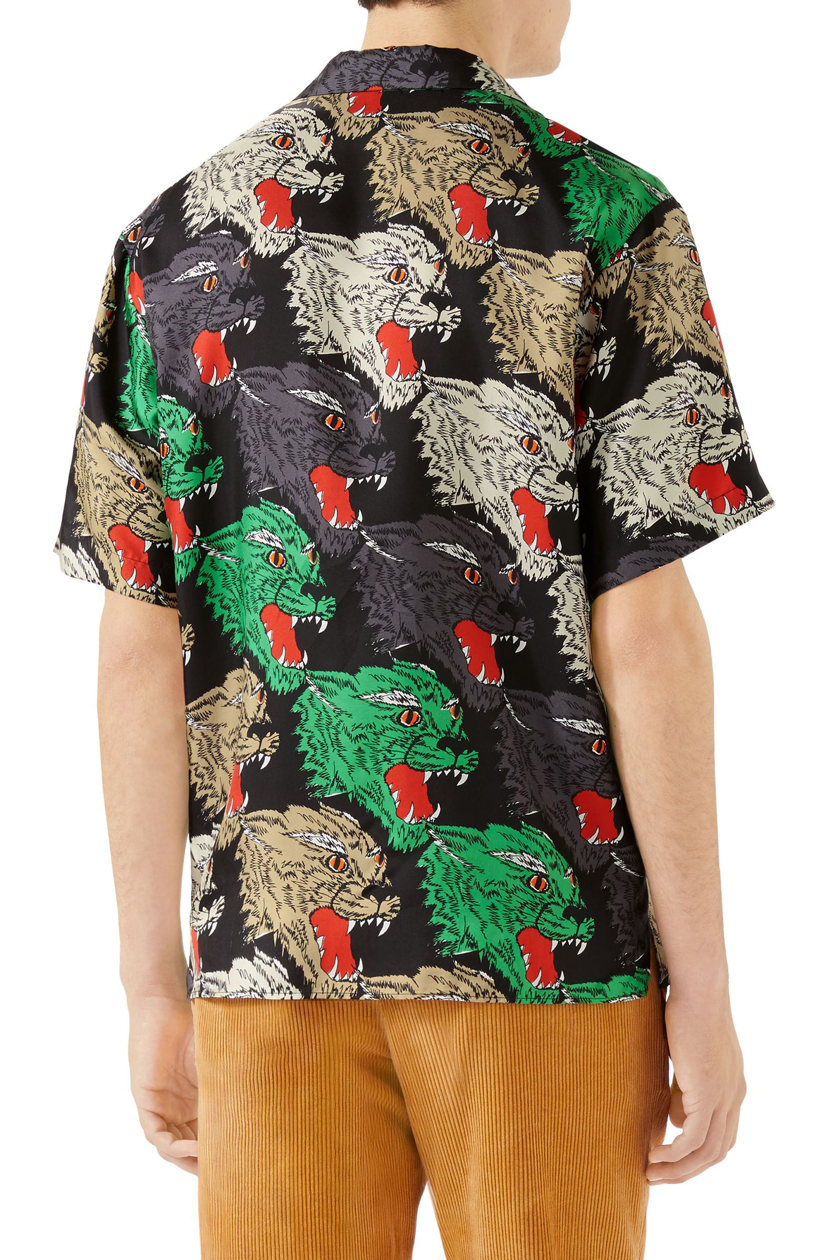Allover Panther Print Silk Camp Shirt,                             Alternate thumbnail 2, color,                             BLACK