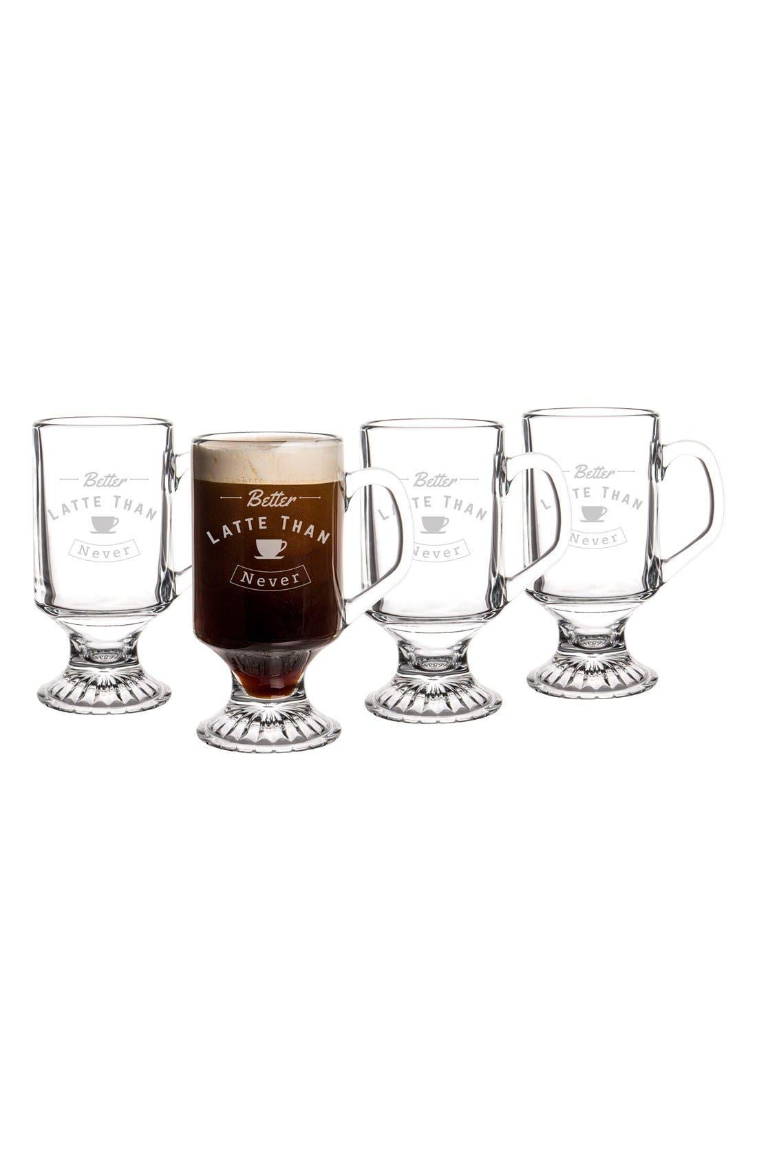 Better Latte Than Never Set of 4 Glass Mugs,                             Alternate thumbnail 3, color,                             100