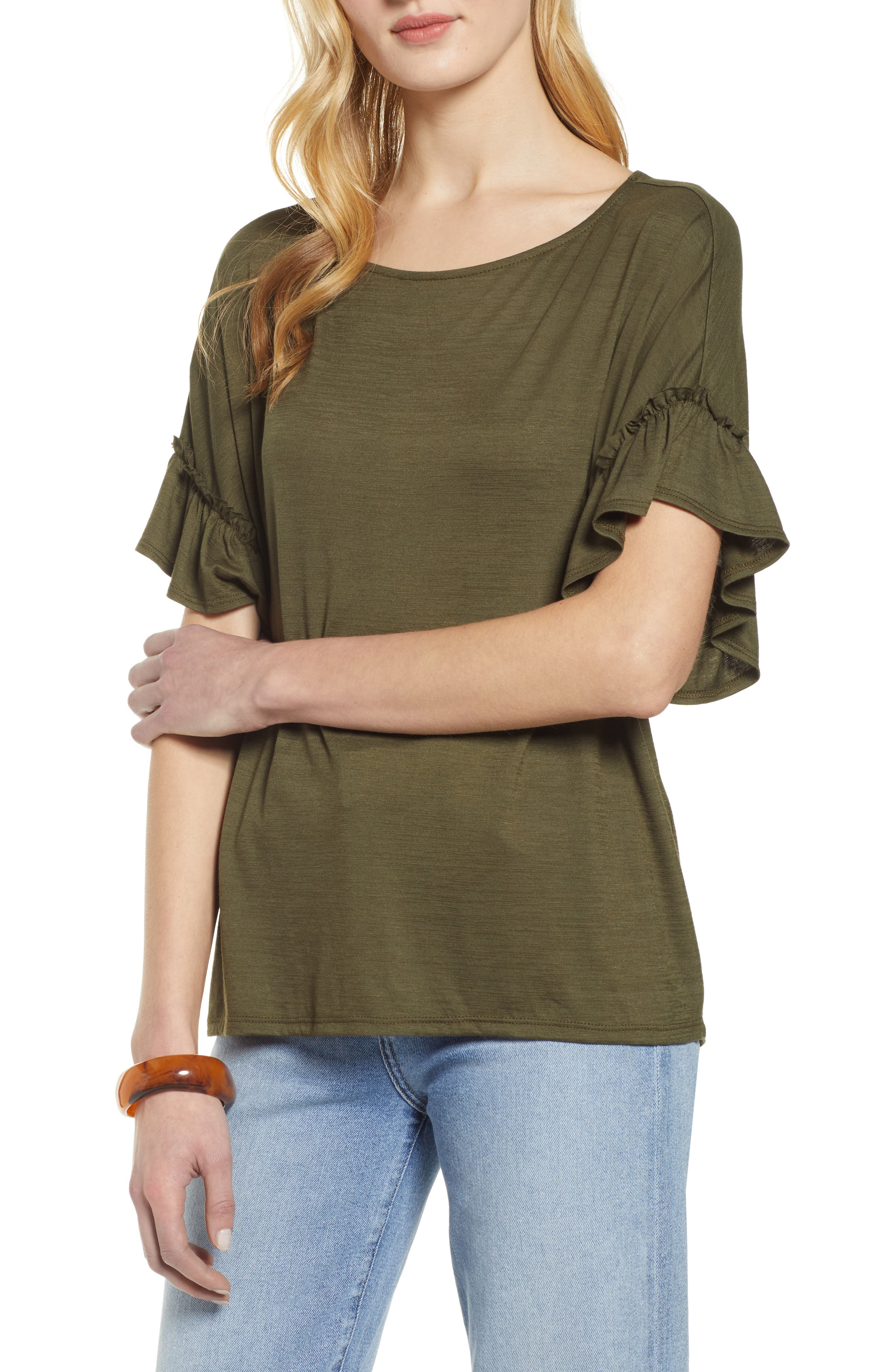 Ruffle Sleeve Top, Main, color, OLIVE