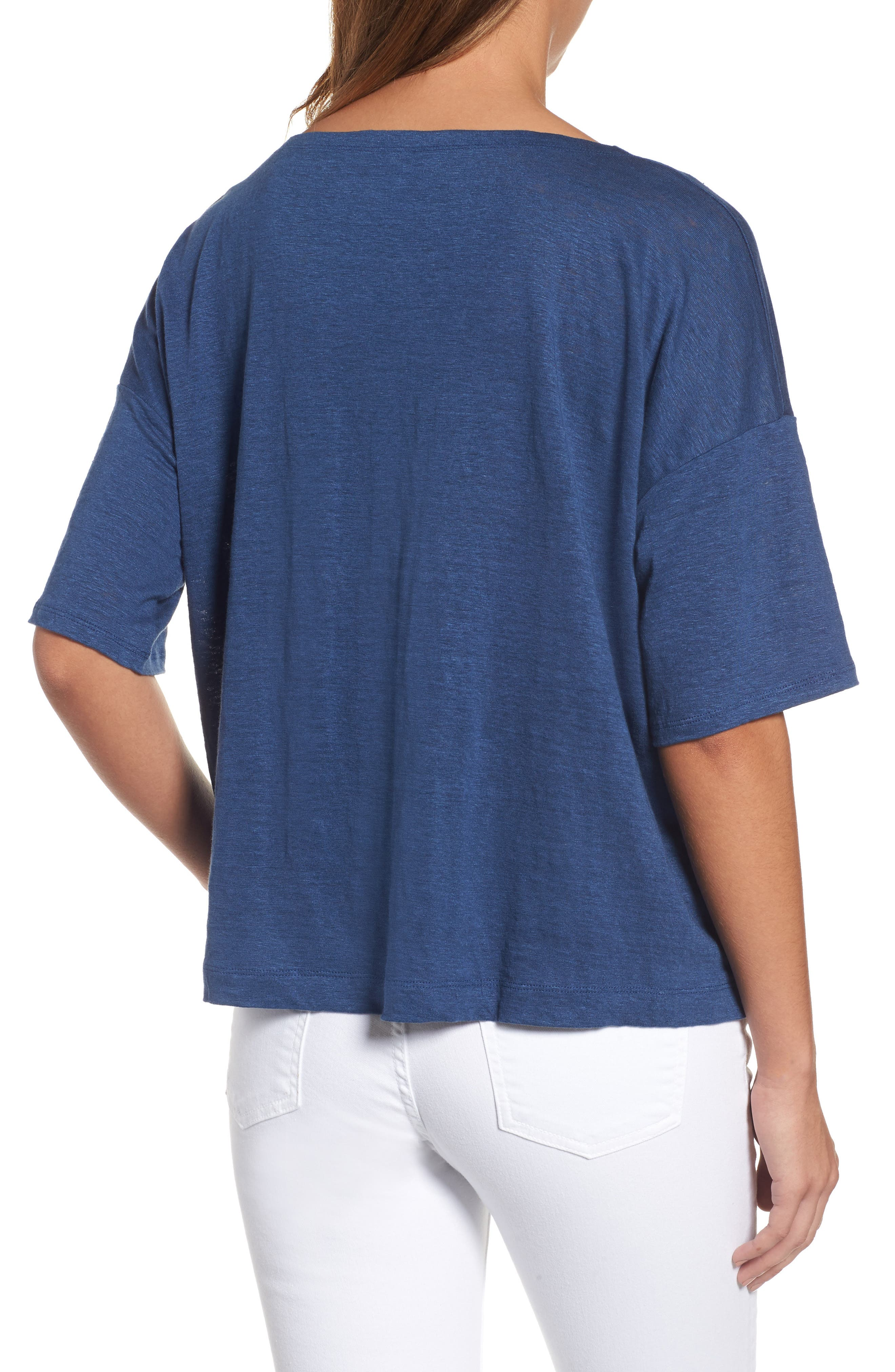 Organic Linen Jersey Boxy Top,                             Alternate thumbnail 12, color,