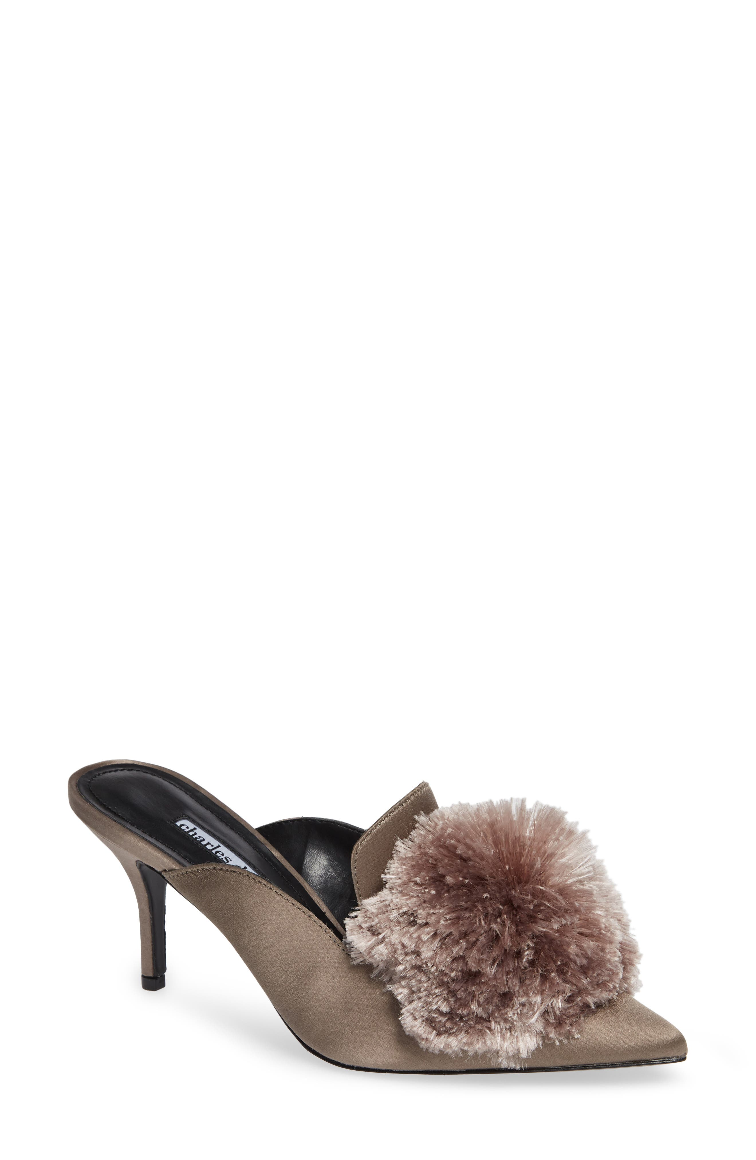 Adelle Pompom Loafer Mule,                             Main thumbnail 1, color,                             TAUPE SATIN