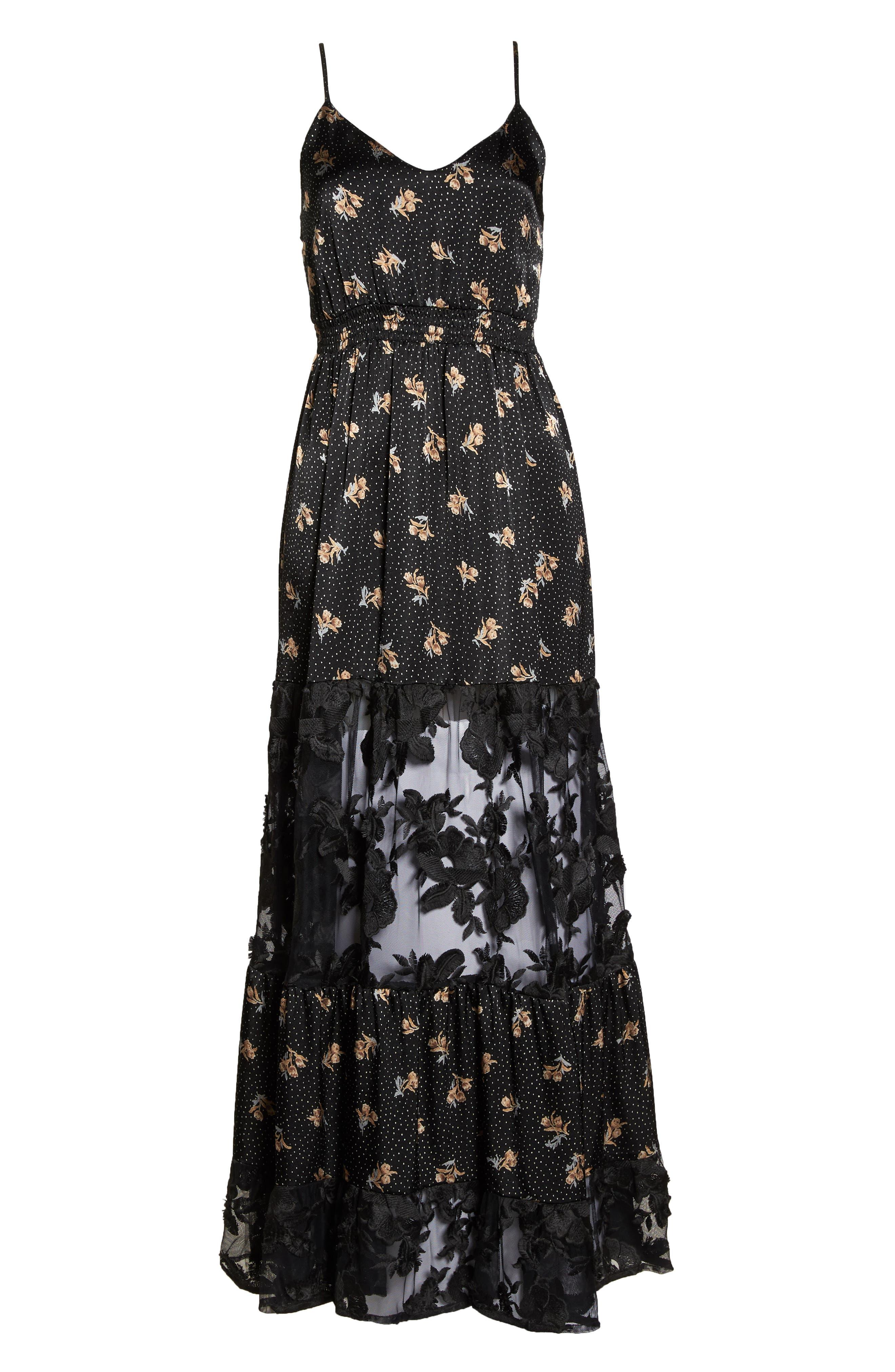Lace Panel Maxi Dress,                             Alternate thumbnail 7, color,                             BLACK FLORAL