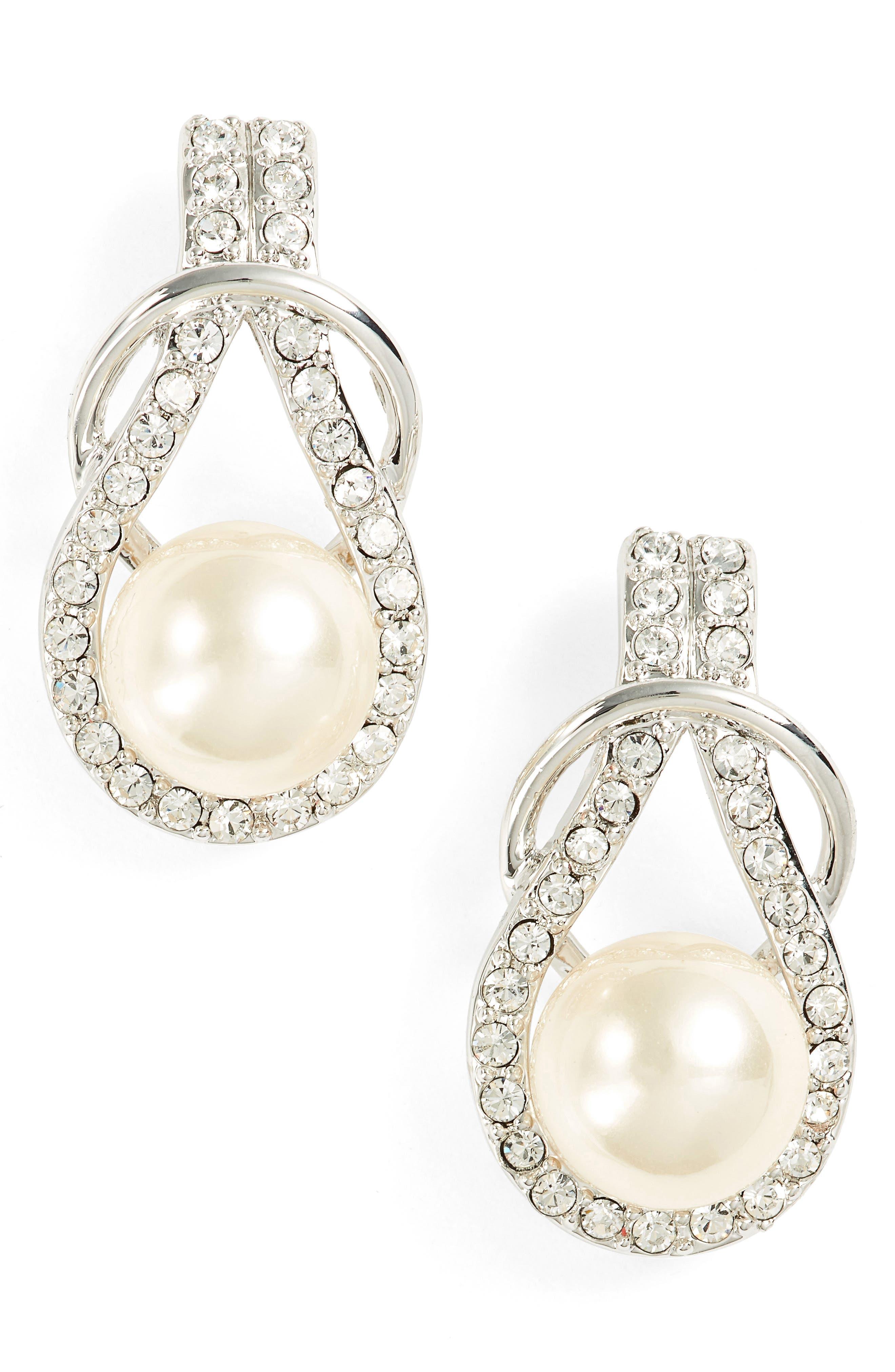 Knot Imitation Pearl Drop Earrings,                             Main thumbnail 1, color,                             IVORY PEARL / SILVER