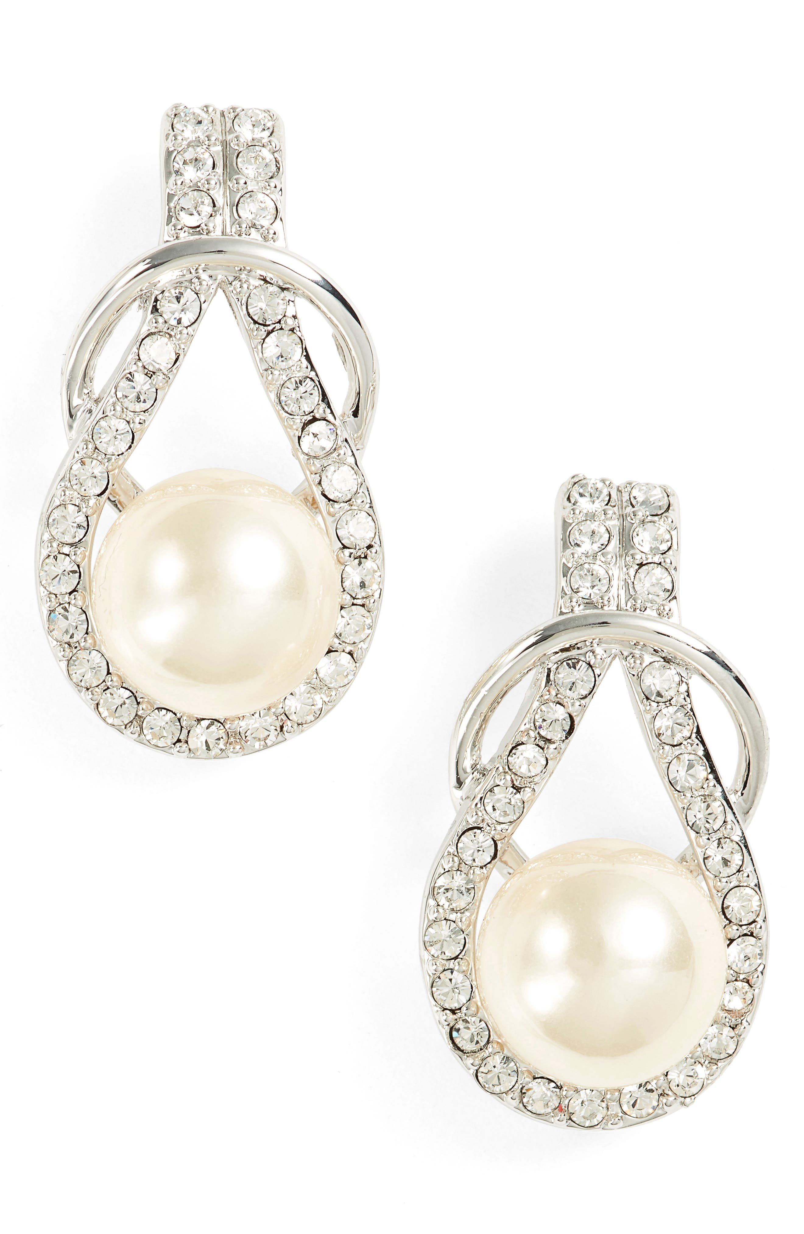 Knot Imitation Pearl Drop Earrings,                         Main,                         color, IVORY PEARL / SILVER
