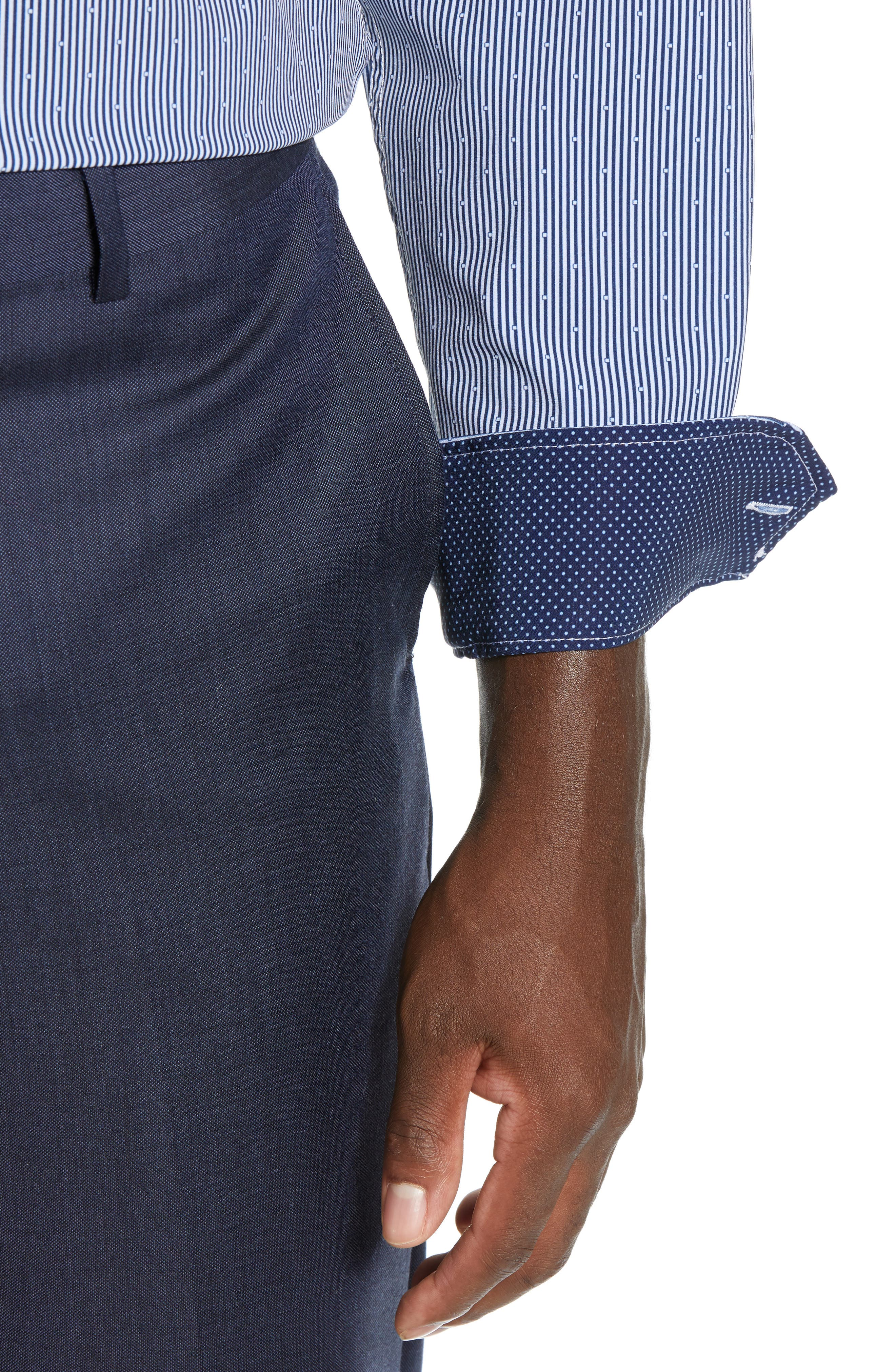 Trim Fit Stretch Stripe Dress Shirt,                             Alternate thumbnail 2, color,                             BLUE