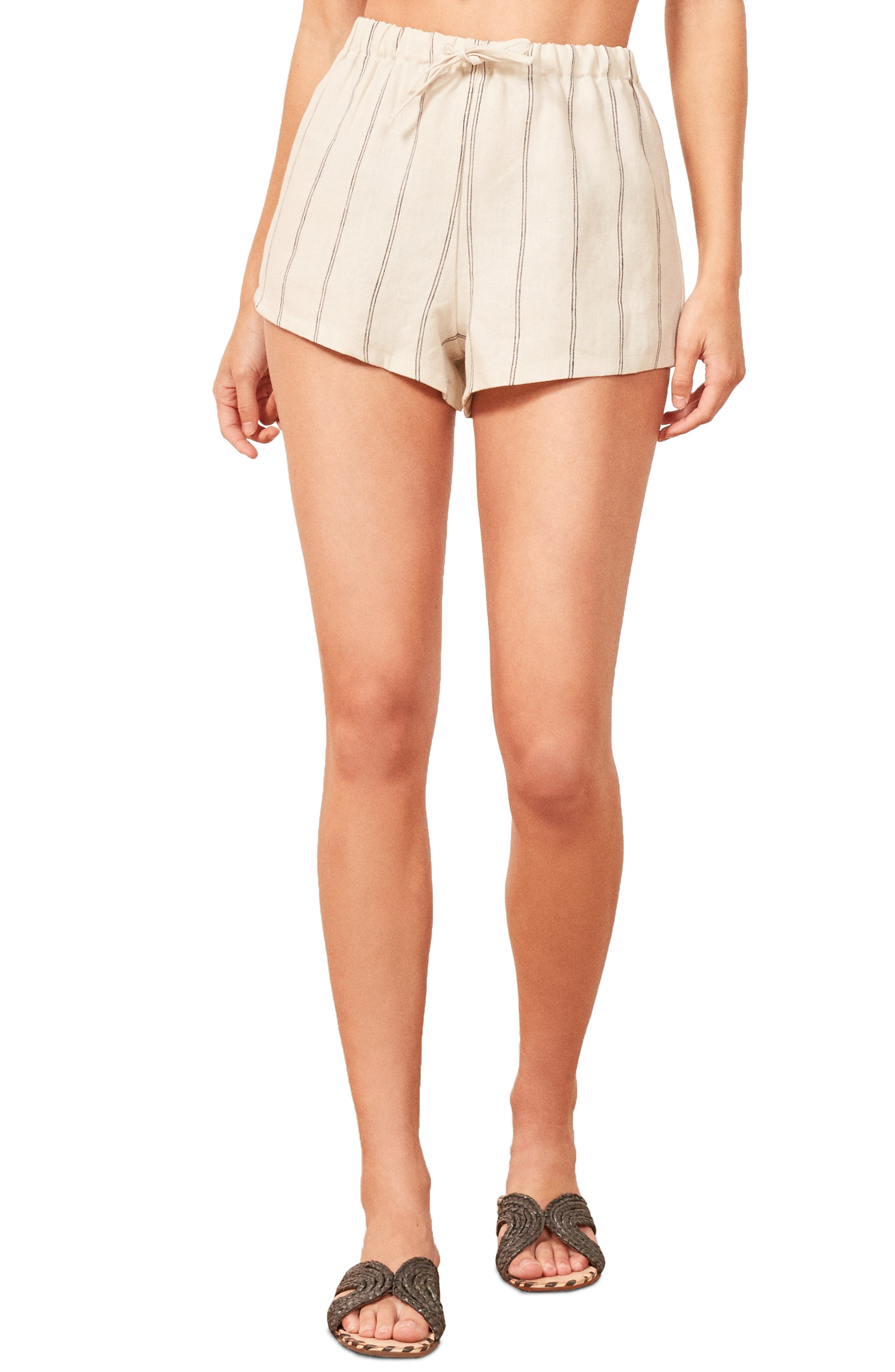 REFORMATION Jamaica Linen Shorts, Main, color, 100
