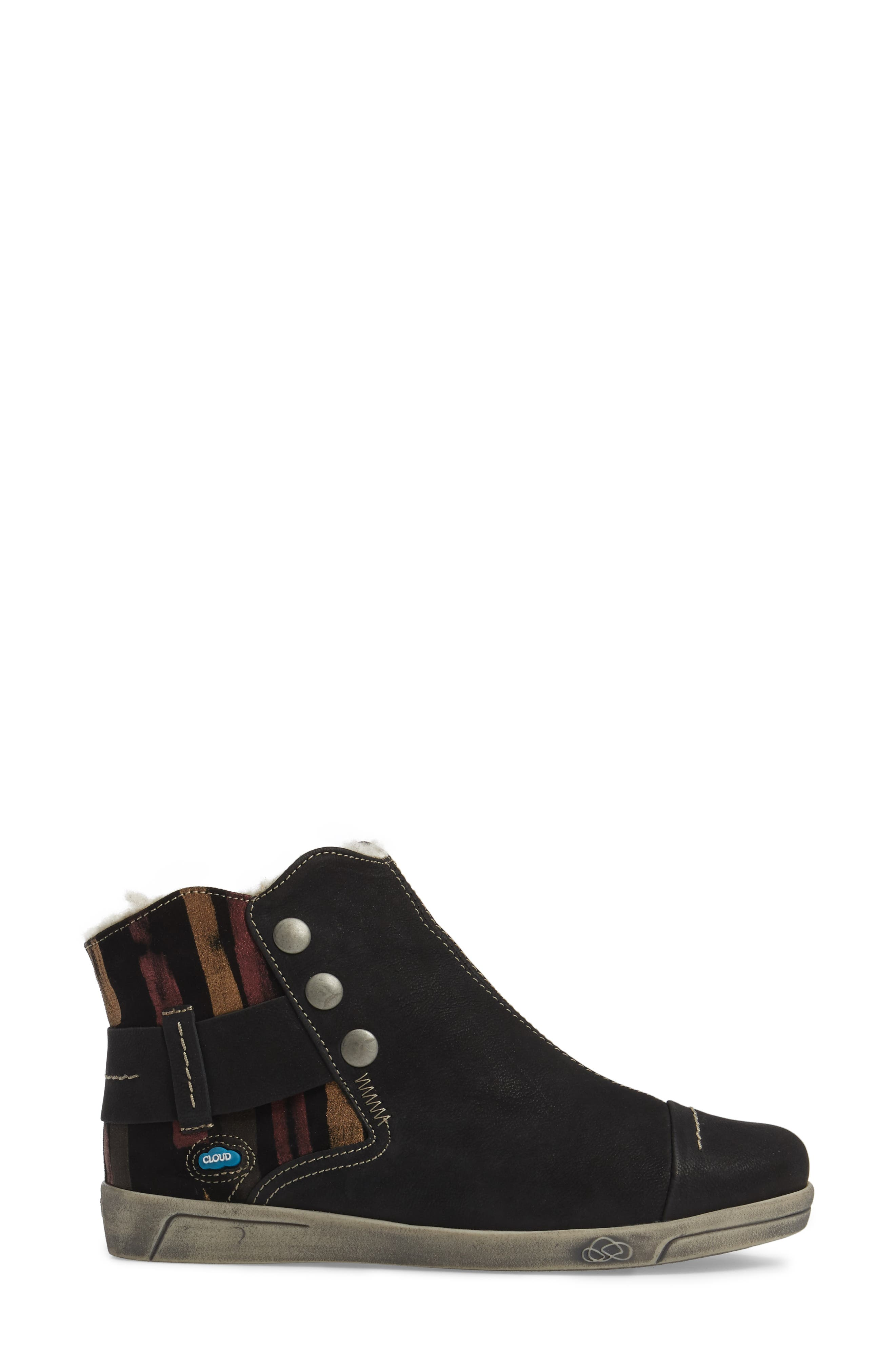 Aline Fantasy Wool Liked Boot,                             Alternate thumbnail 3, color,                             BLACK LEATHER