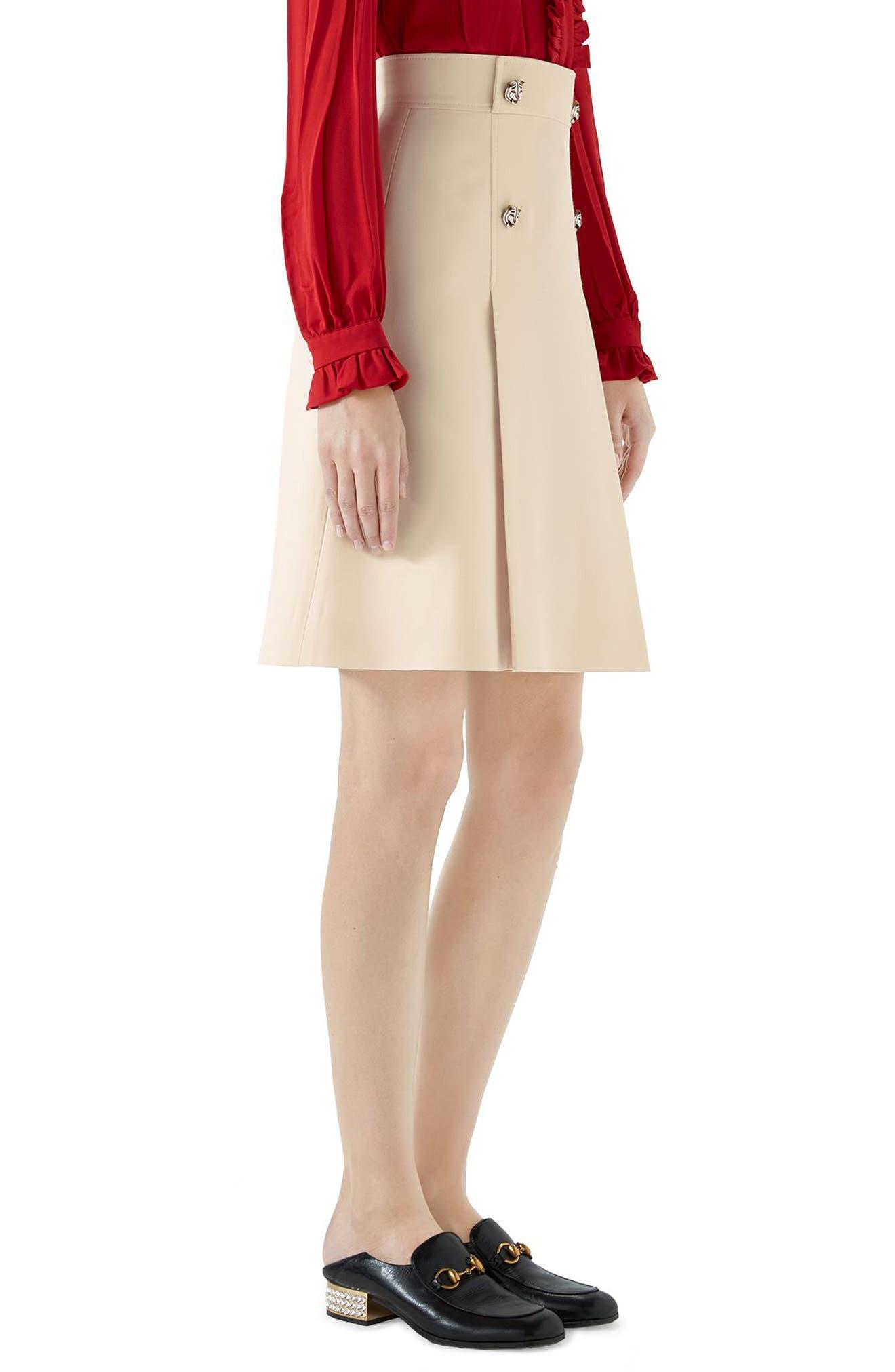 Tiger Button Wool & Silk Crepe A-Line Skirt,                             Alternate thumbnail 3, color,                             GARDENIA