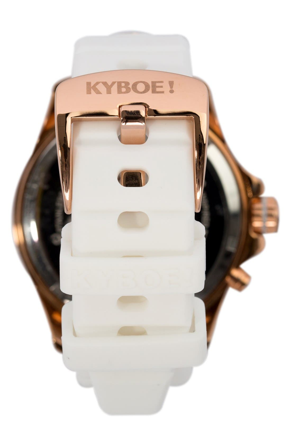 Silicone Strap Watch, 48mm,                             Alternate thumbnail 3, color,                             WHITE/ ROSE GOLD
