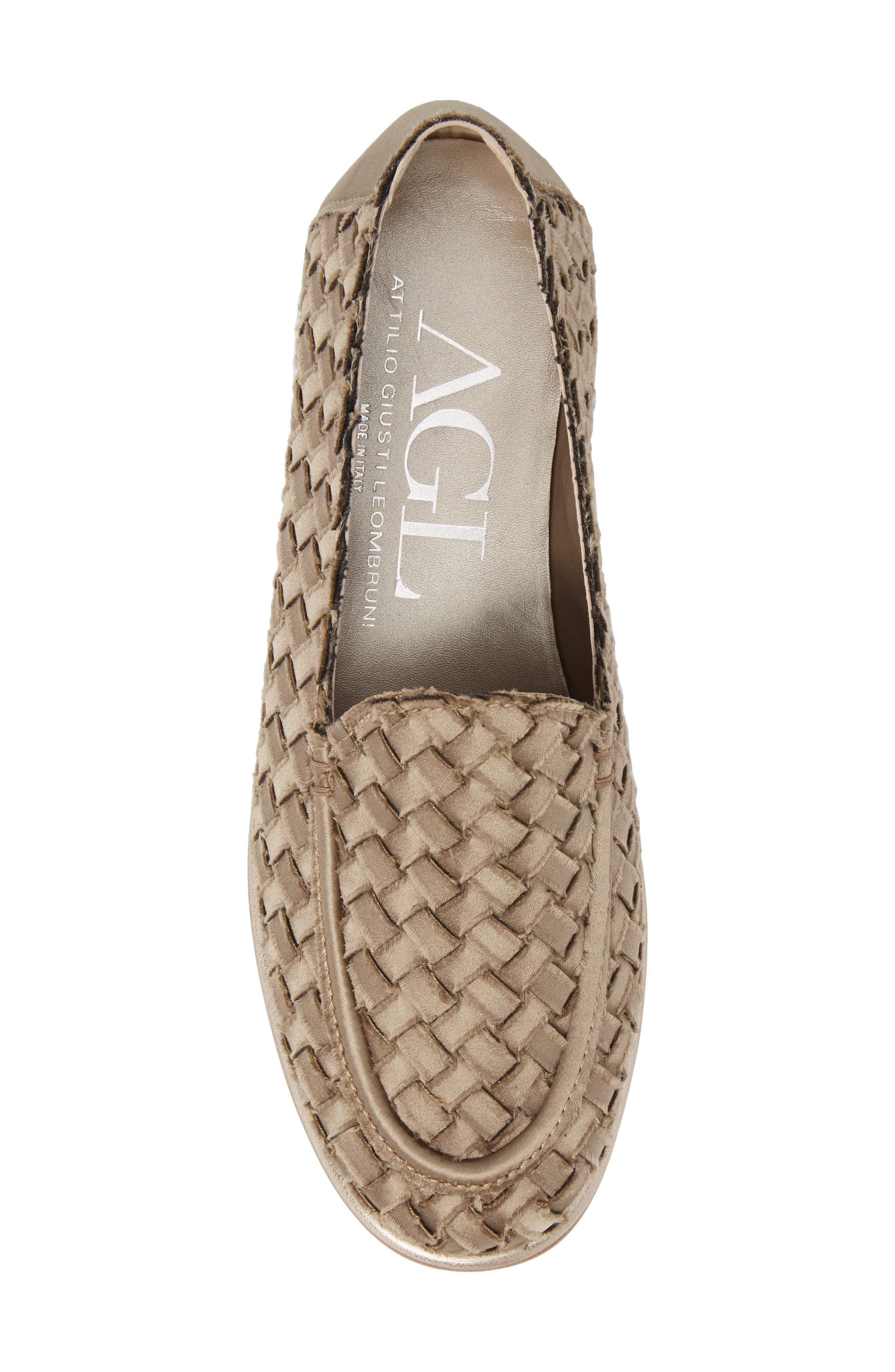 Woven Loafer,                             Alternate thumbnail 5, color,                             TAUPE SATIN