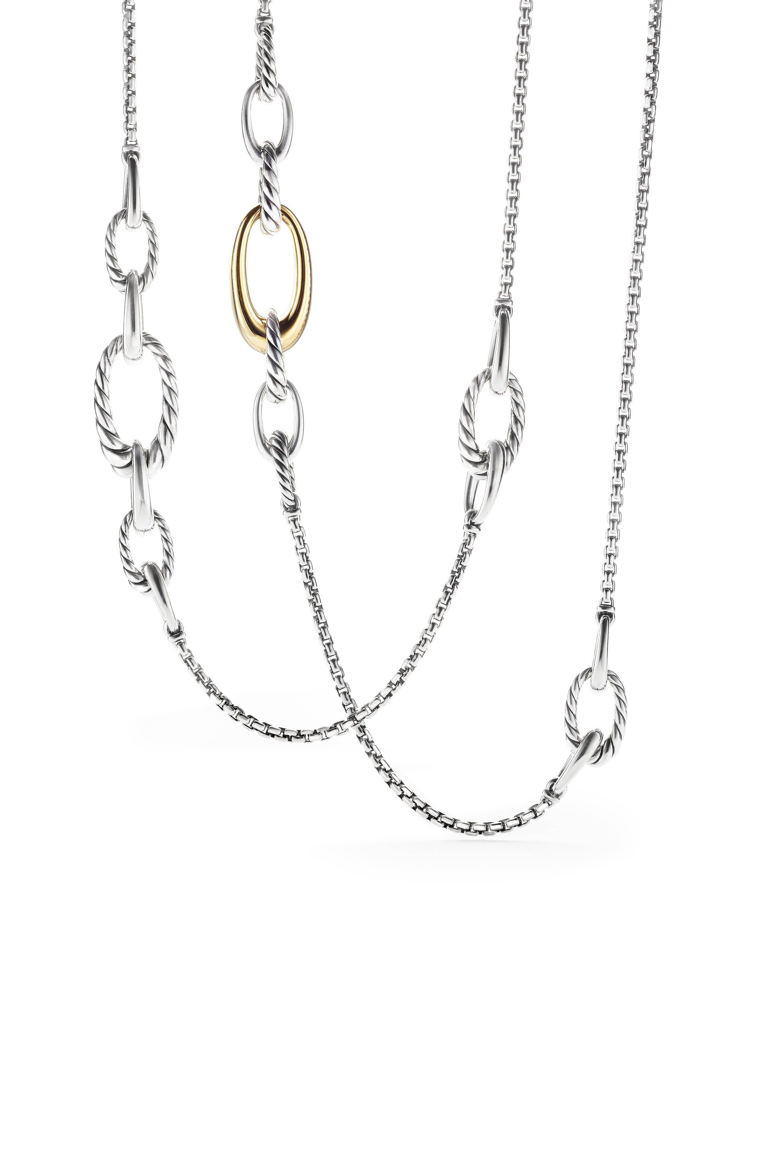 Pure Form Graduated Chain Station Necklace,                             Alternate thumbnail 2, color,                             GOLD/ SILVER
