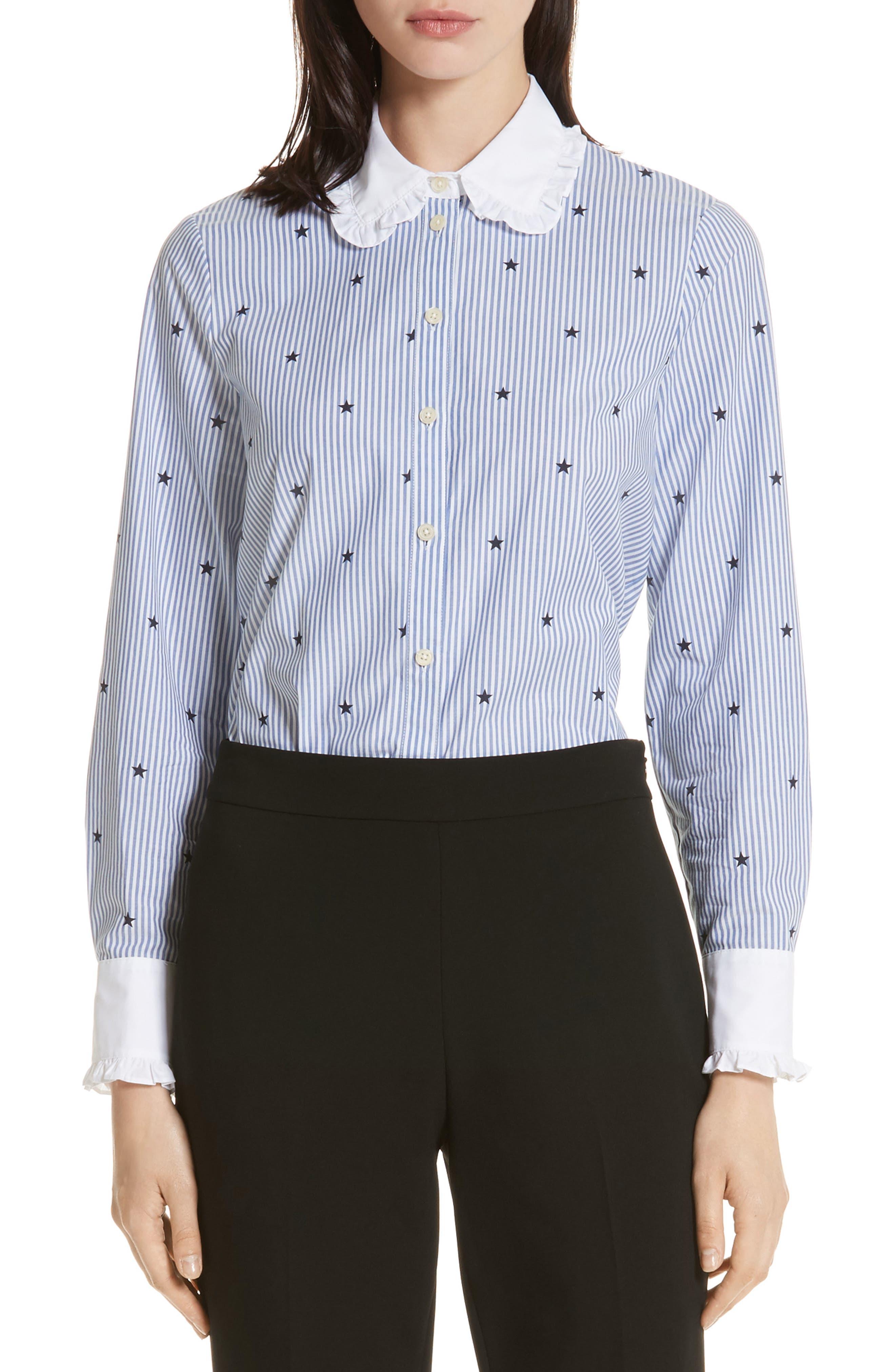 twinkle stripe poplin shirt,                             Main thumbnail 1, color,                             491