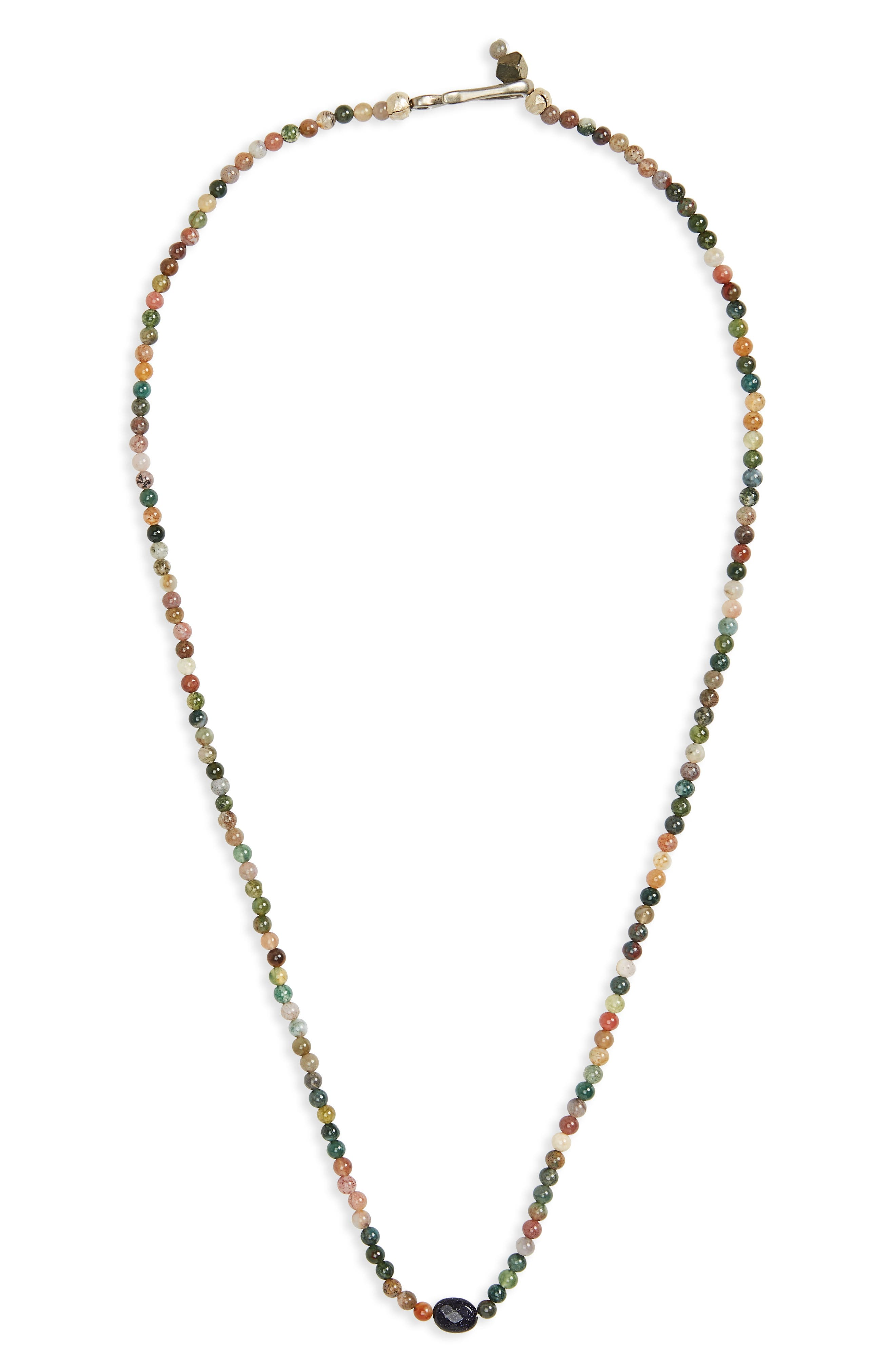 Jasper Bead Necklace,                             Main thumbnail 1, color,                             GREEN/ BROWN