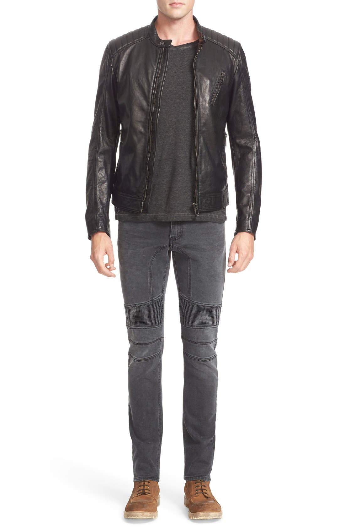 V Racer Leather Jacket,                             Alternate thumbnail 7, color,                             BLACK