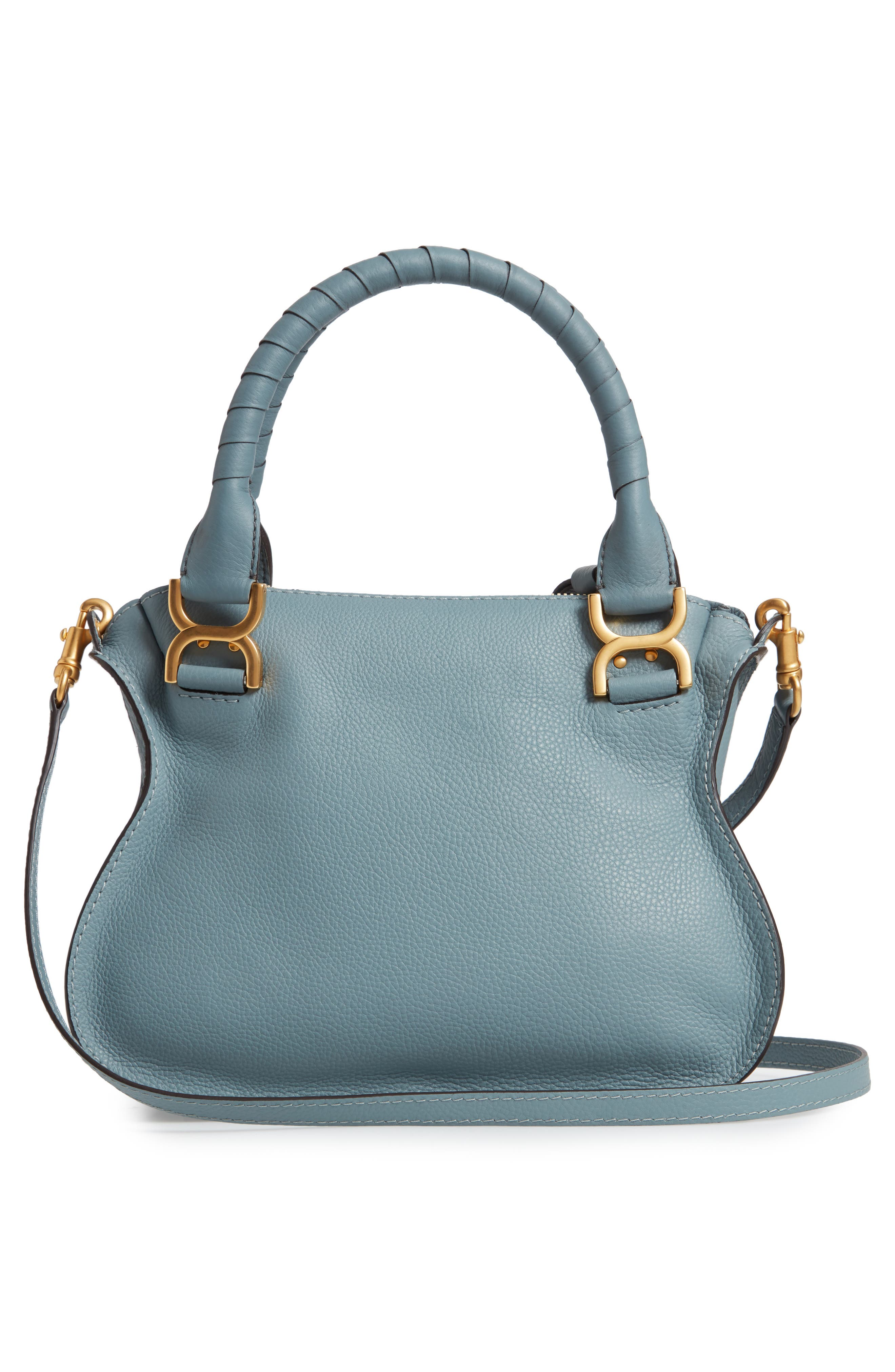 Small Marcie Calfskin Leather Satchel,                             Alternate thumbnail 3, color,                             CLOUDY BLUE