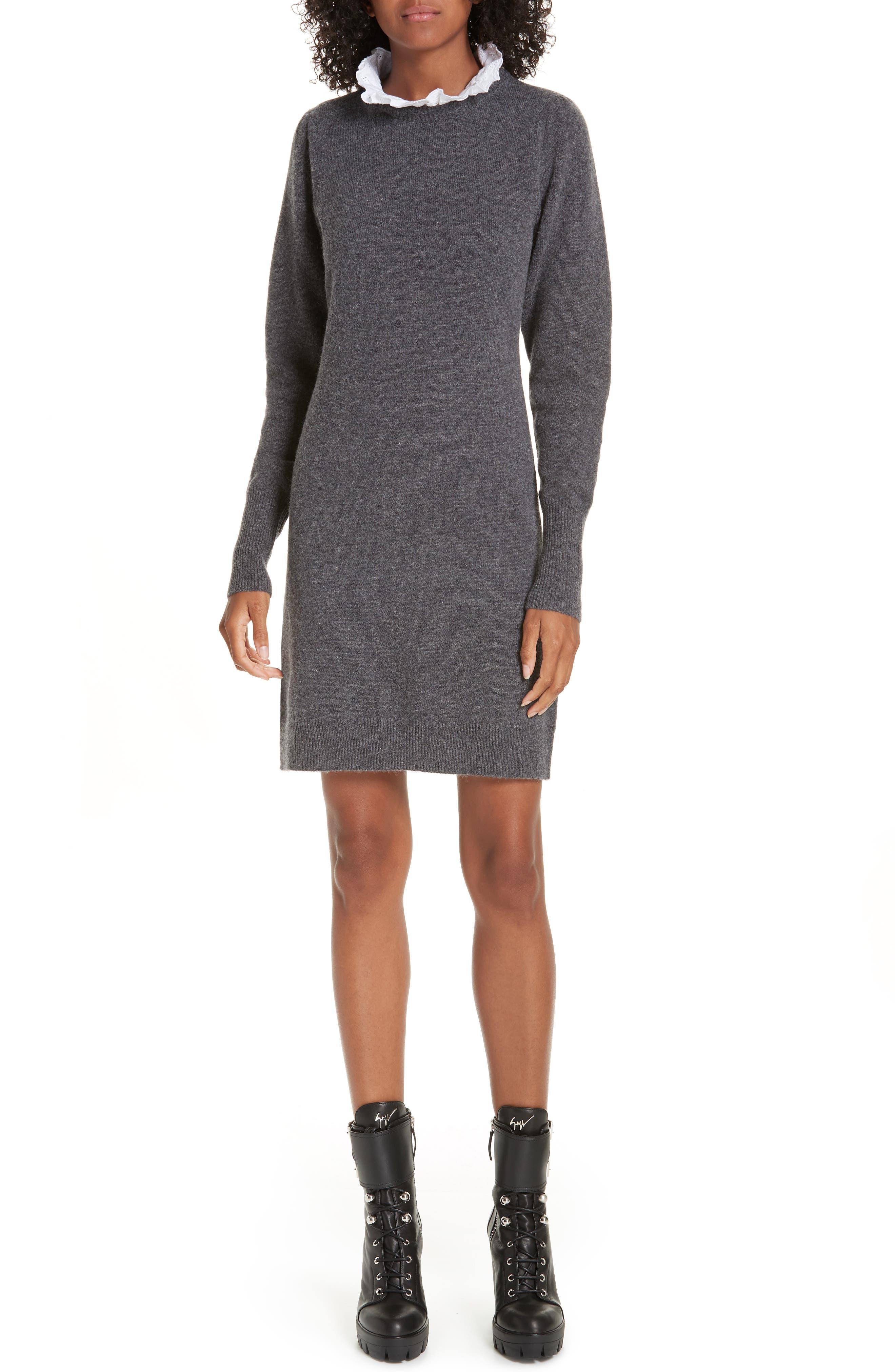 Ancolie Eyelet Collar Sweater Dress,                             Main thumbnail 1, color,                             020