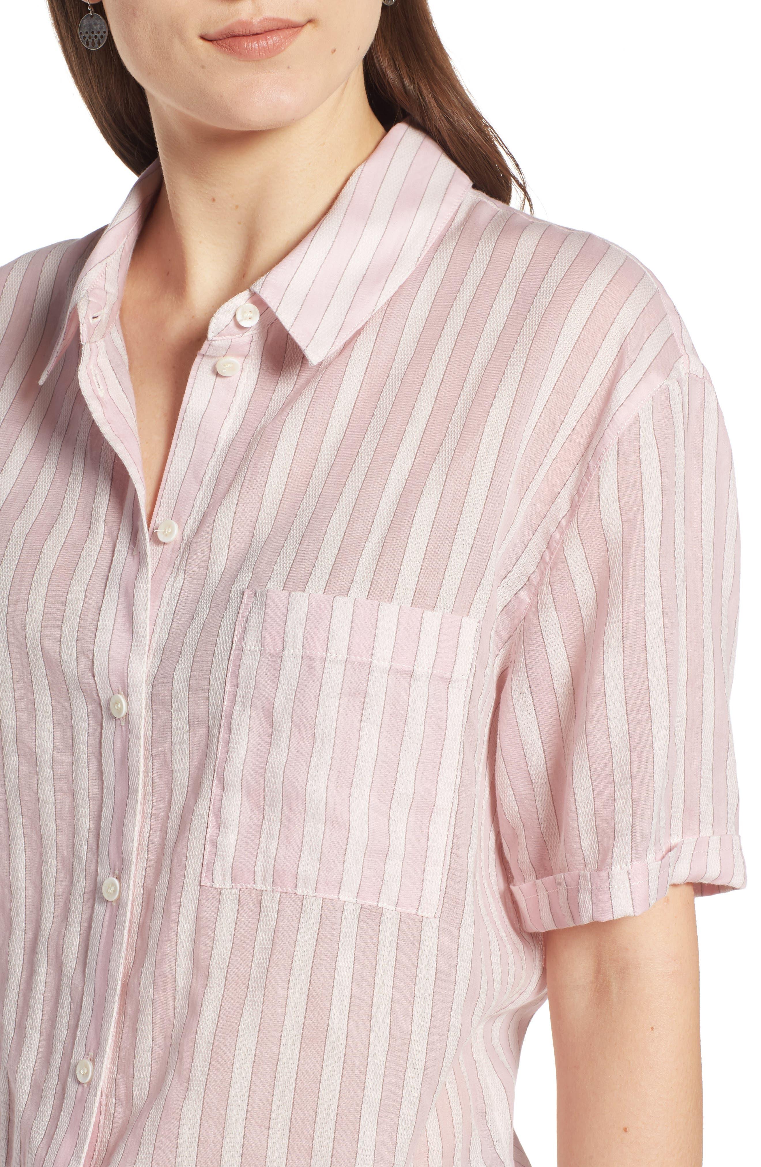 Stripe Shirt,                             Alternate thumbnail 4, color,                             PINK OPAL TAILOR STRIPE