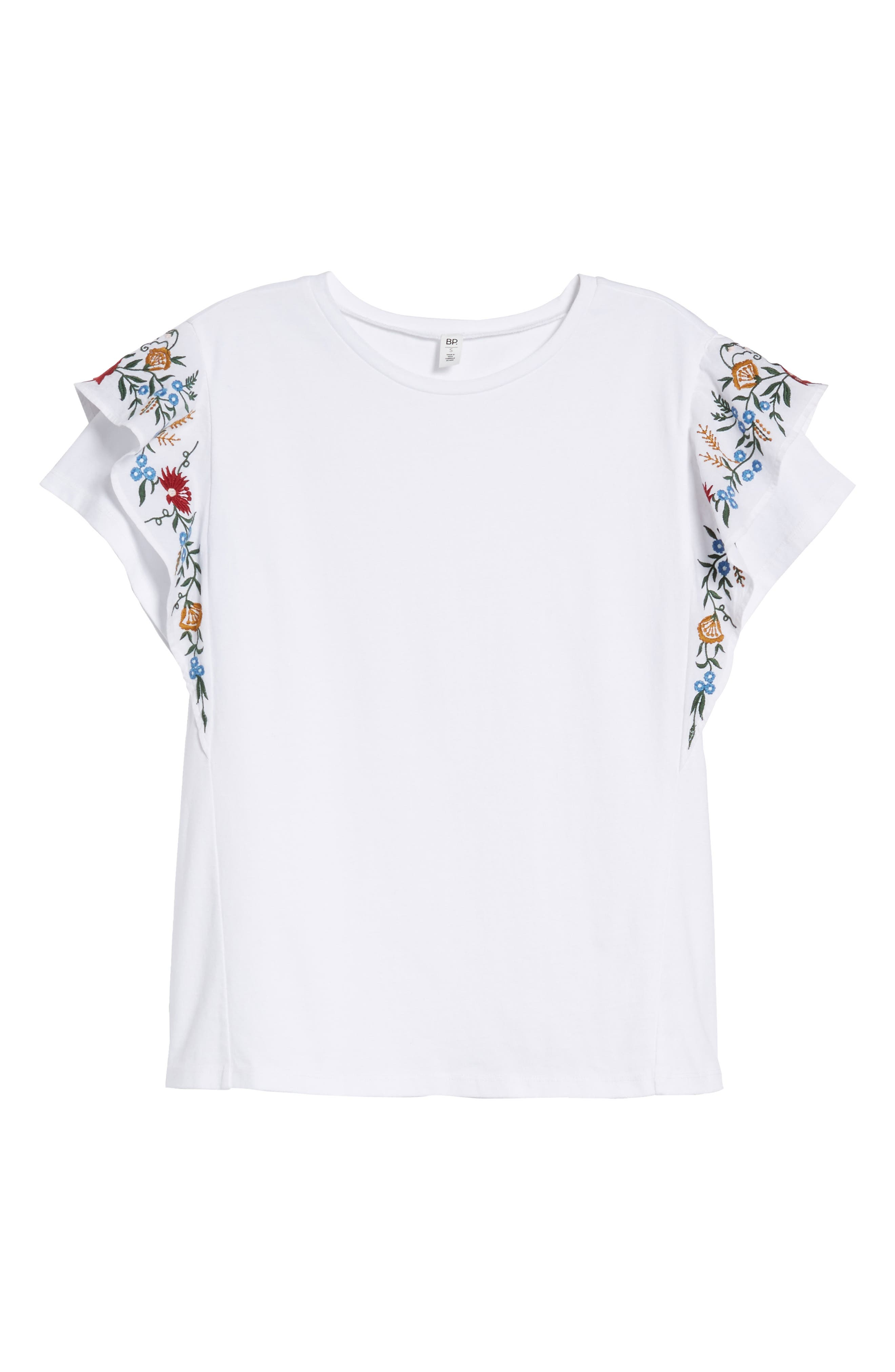 Embroidered Cotton Tee,                             Alternate thumbnail 6, color,                             100