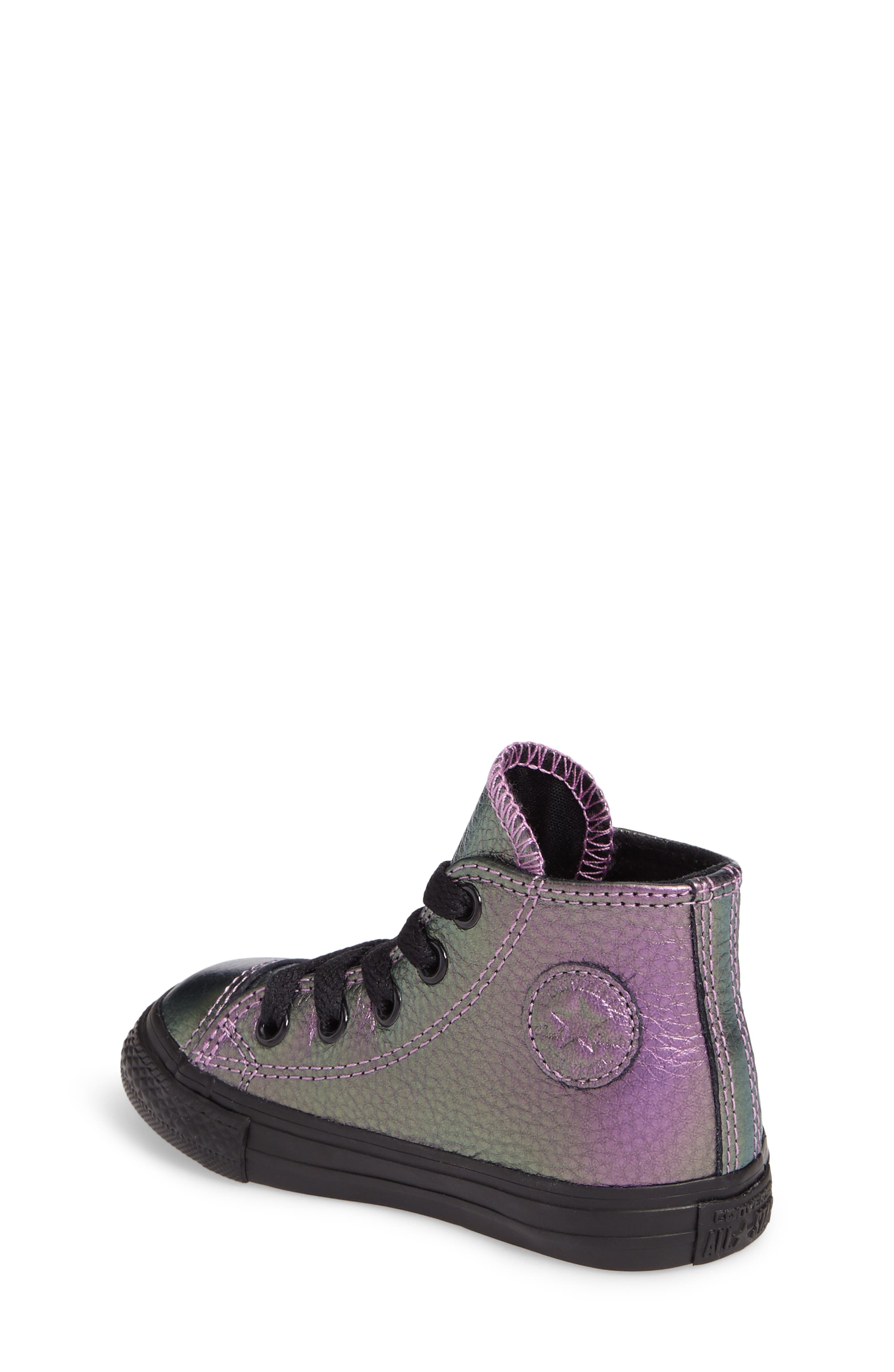 Chuck Taylor<sup>®</sup> All Star<sup>®</sup> Iridescent Leather High Top Sneaker,                             Alternate thumbnail 4, color,