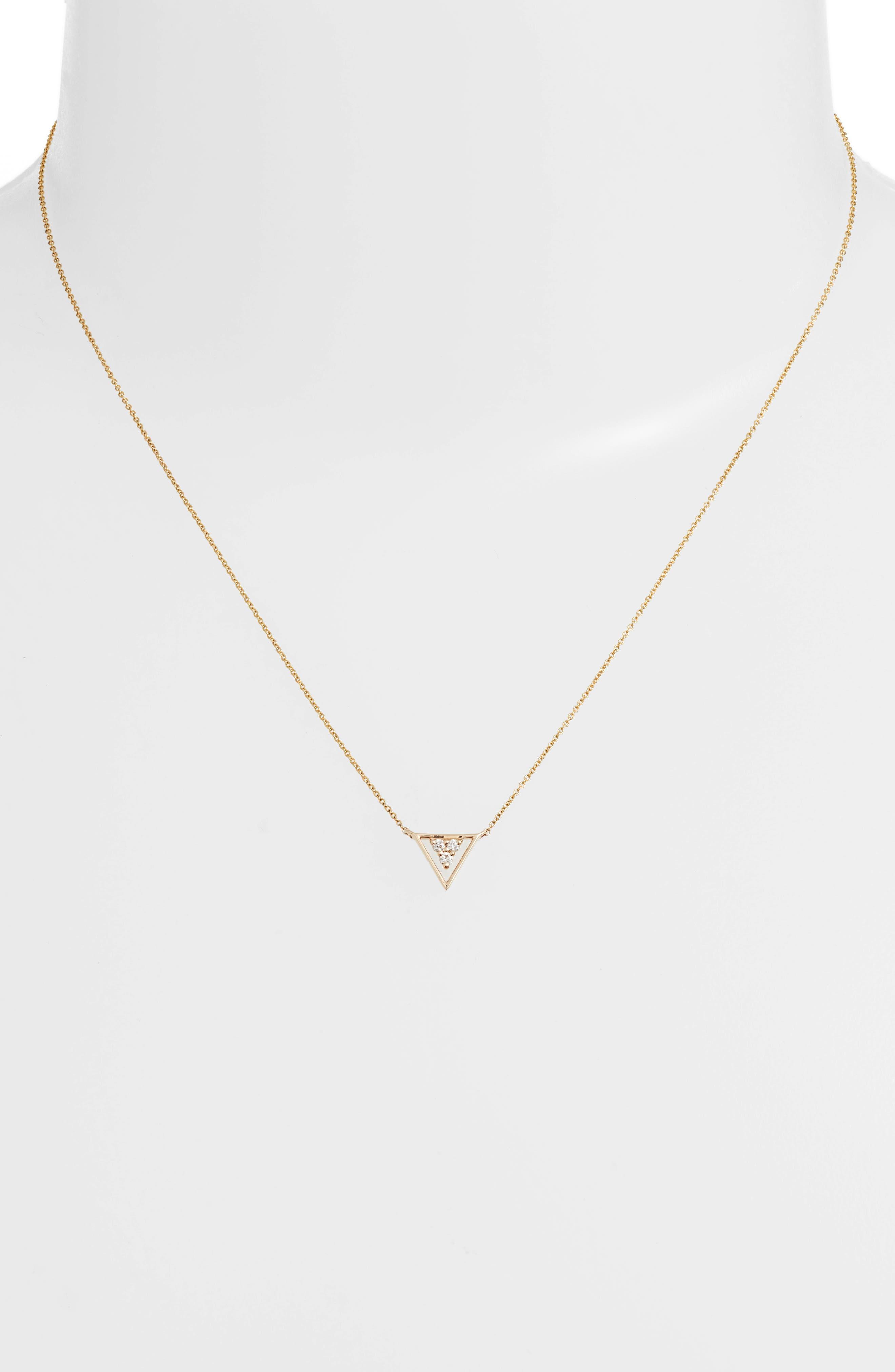 DANA REBECCA DESIGNS,                             Ivy Diamond Triangle Pendant Necklace,                             Alternate thumbnail 2, color,                             YELLOW GOLD/ PEARL